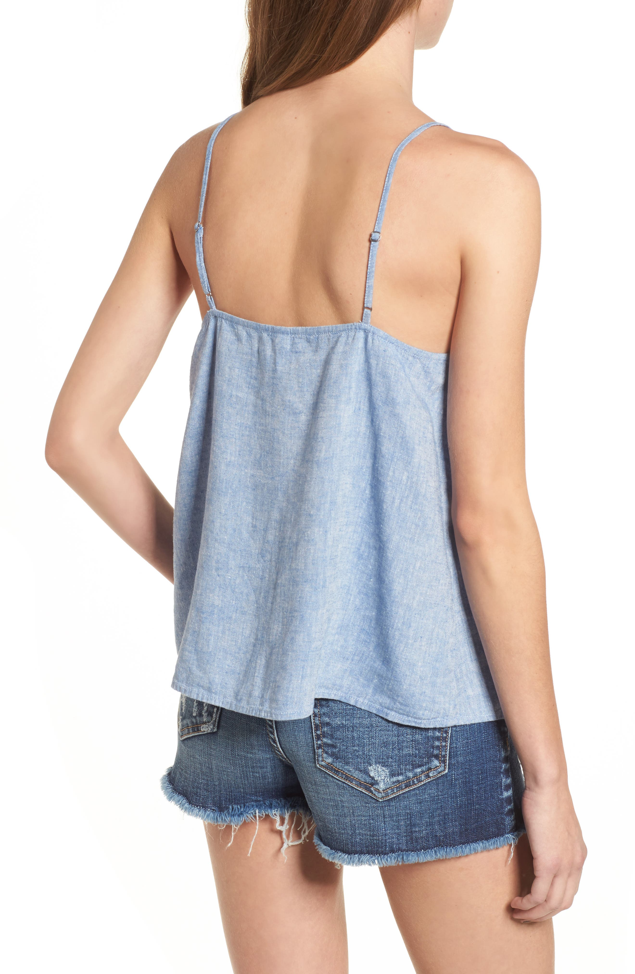Button Front Camisole,                             Alternate thumbnail 2, color,                             Blue Yonder Crossdye