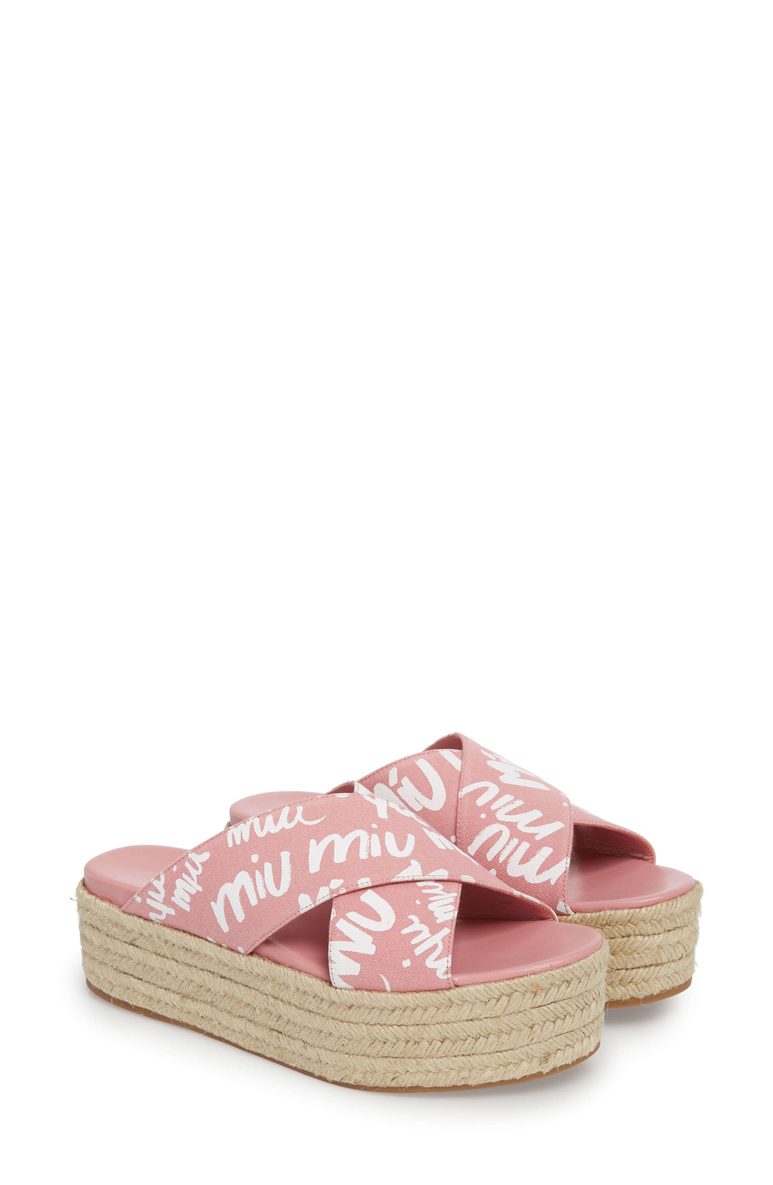 Miu Miu Logo Platform Espadrille Sandal (Women)