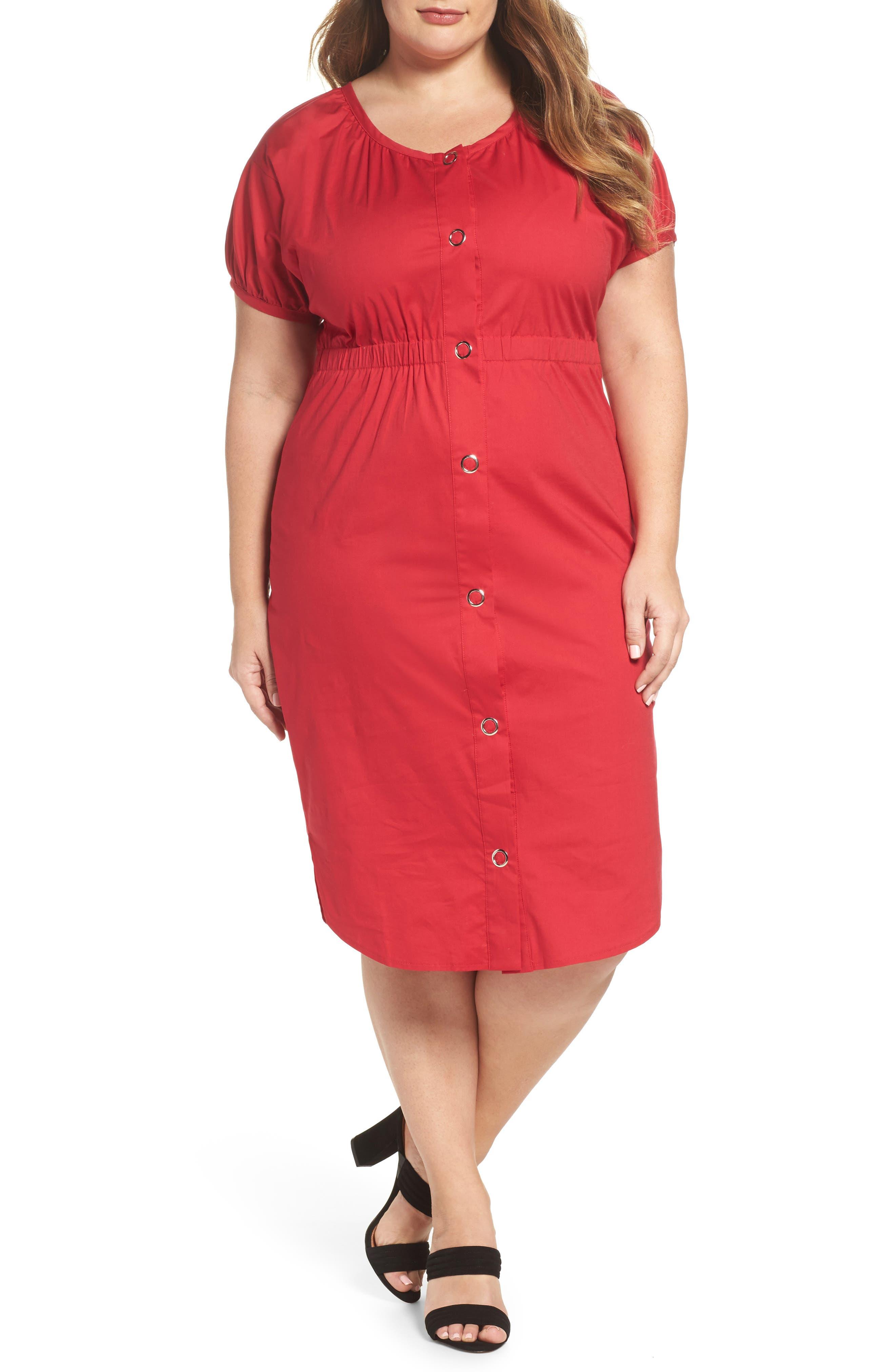 Column Cotton Dress,                         Main,                         color, Pink