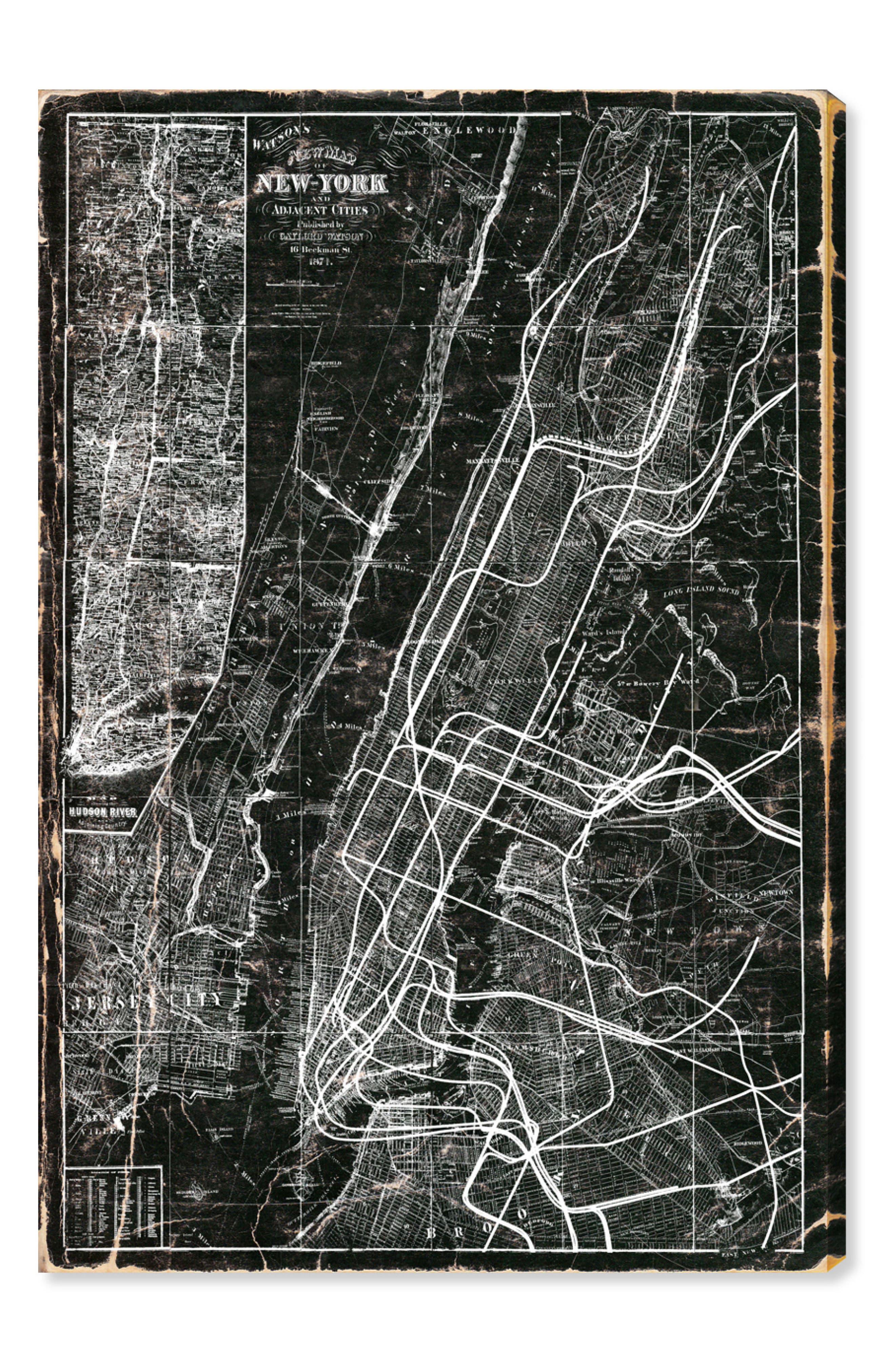 New York Subway Map Canvas Wall Art,                         Main,                         color, Black