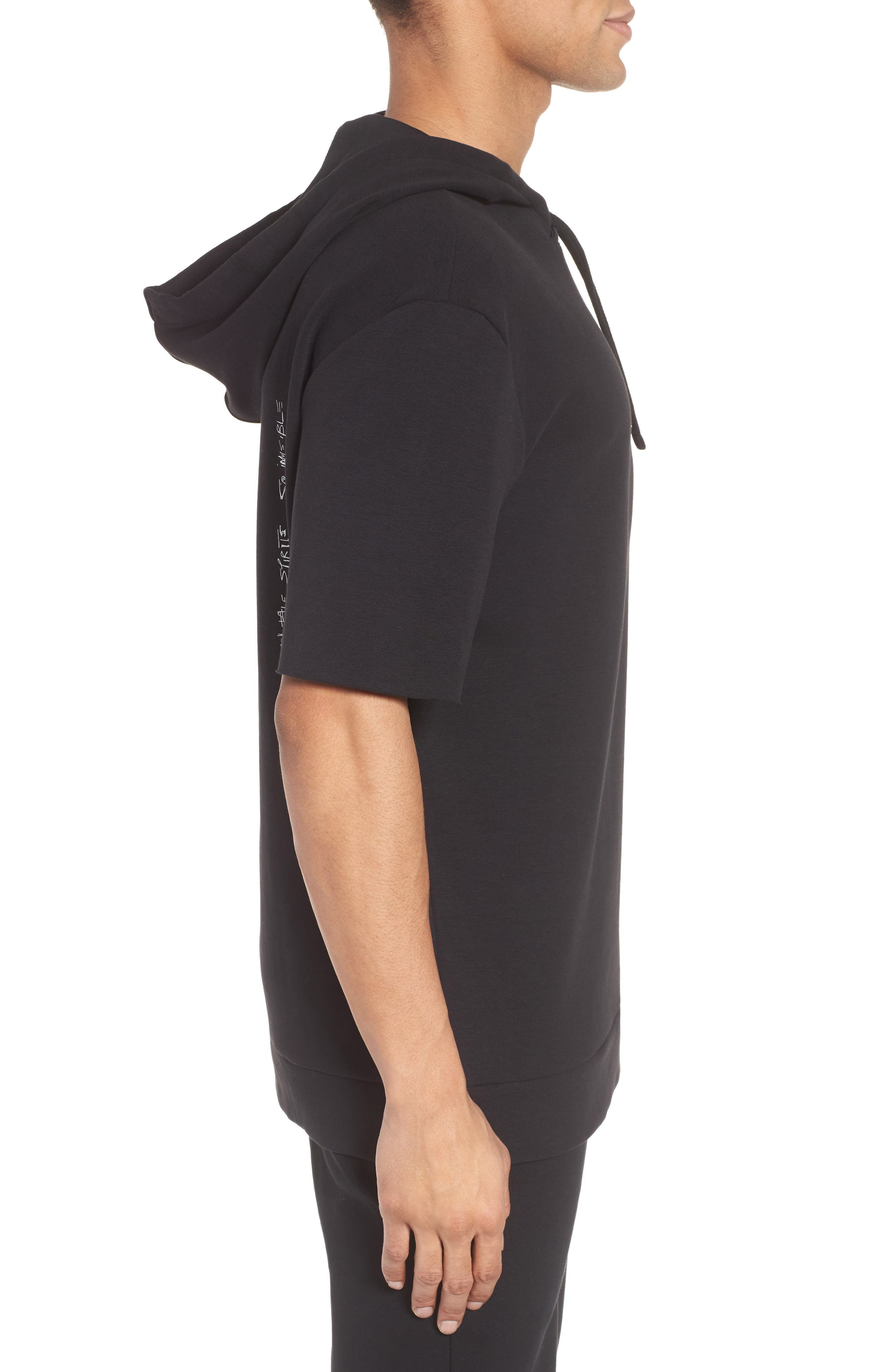 Alternate Image 3  - HUGO Drib Short Sleeve Hoodie