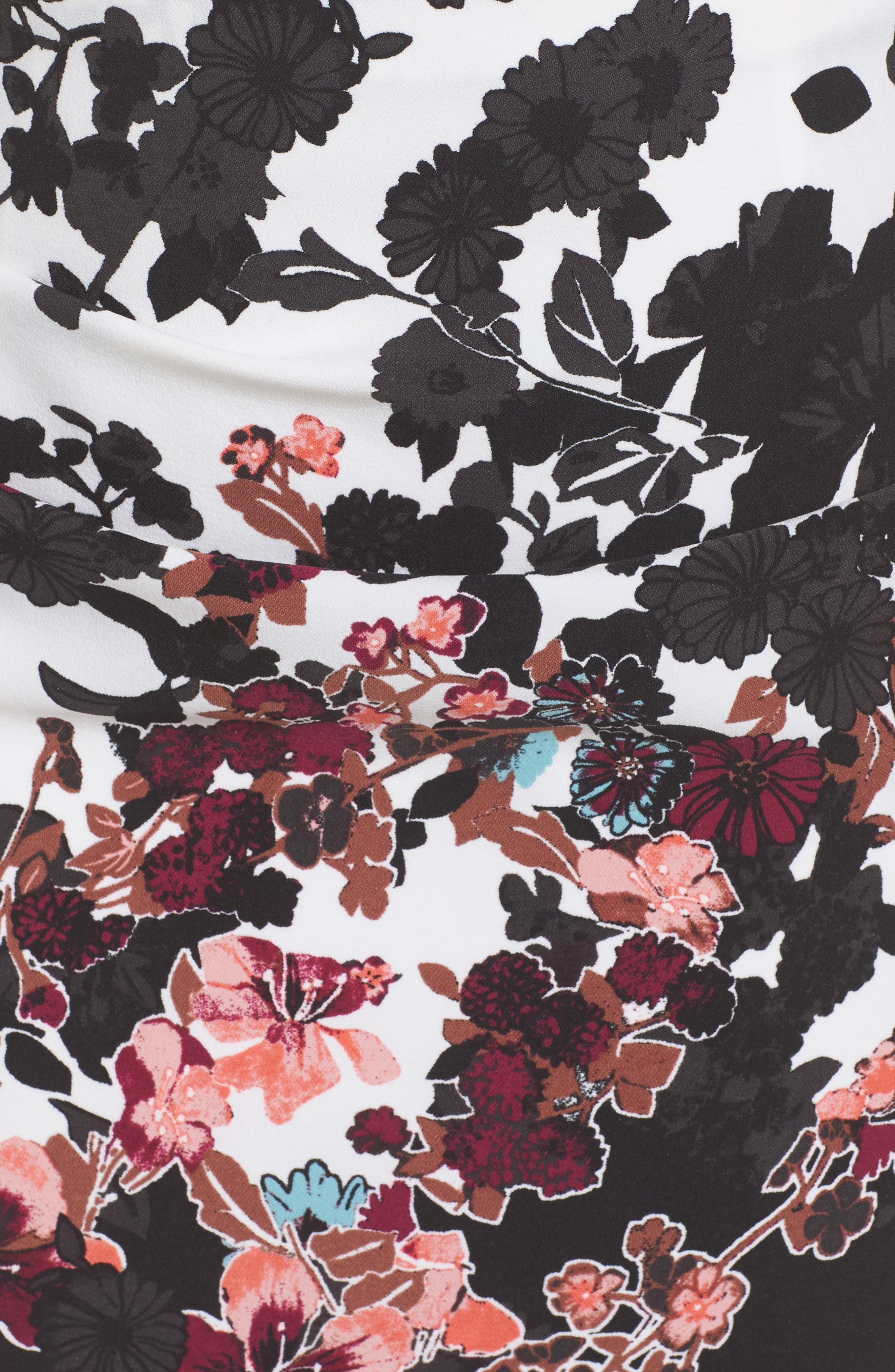Alternate Image 5  - Adrianna Papell Floral Bliss Draped Sheath Dress (Plus Size)