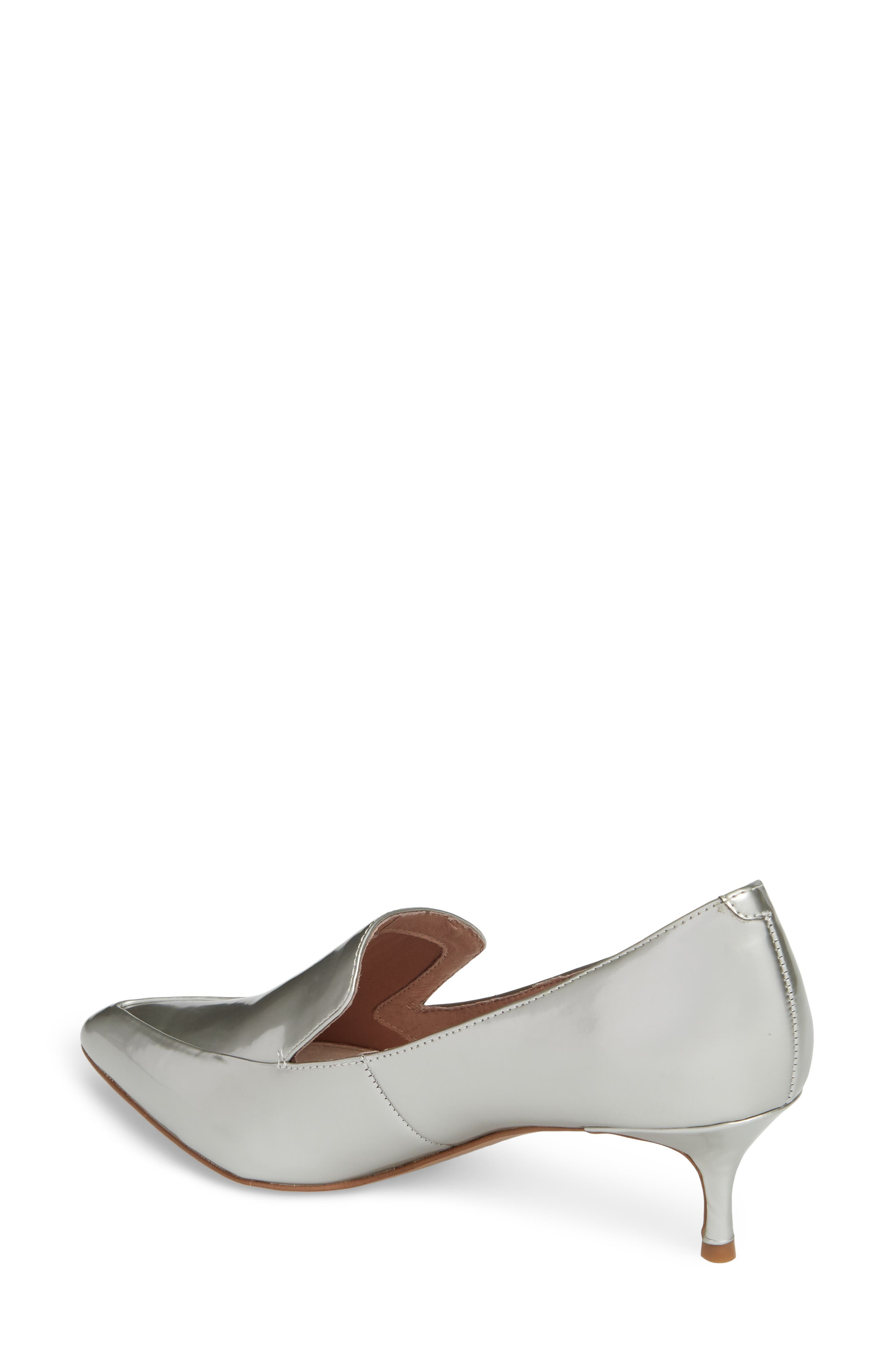 Shea Loafer Pump,                             Alternate thumbnail 2, color,                             Silver Metallic Leather