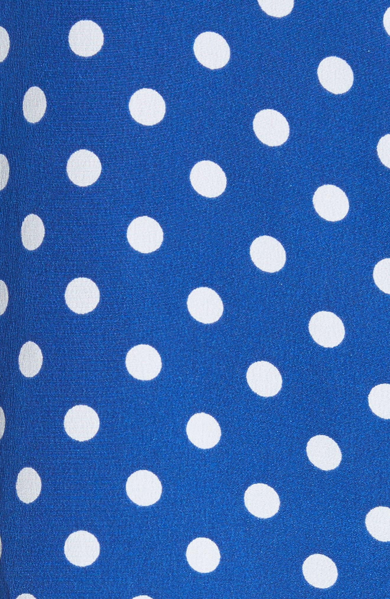 Brynn Polka Dot Silk Tee,                             Alternate thumbnail 5, color,                             Night Fall-Bright White