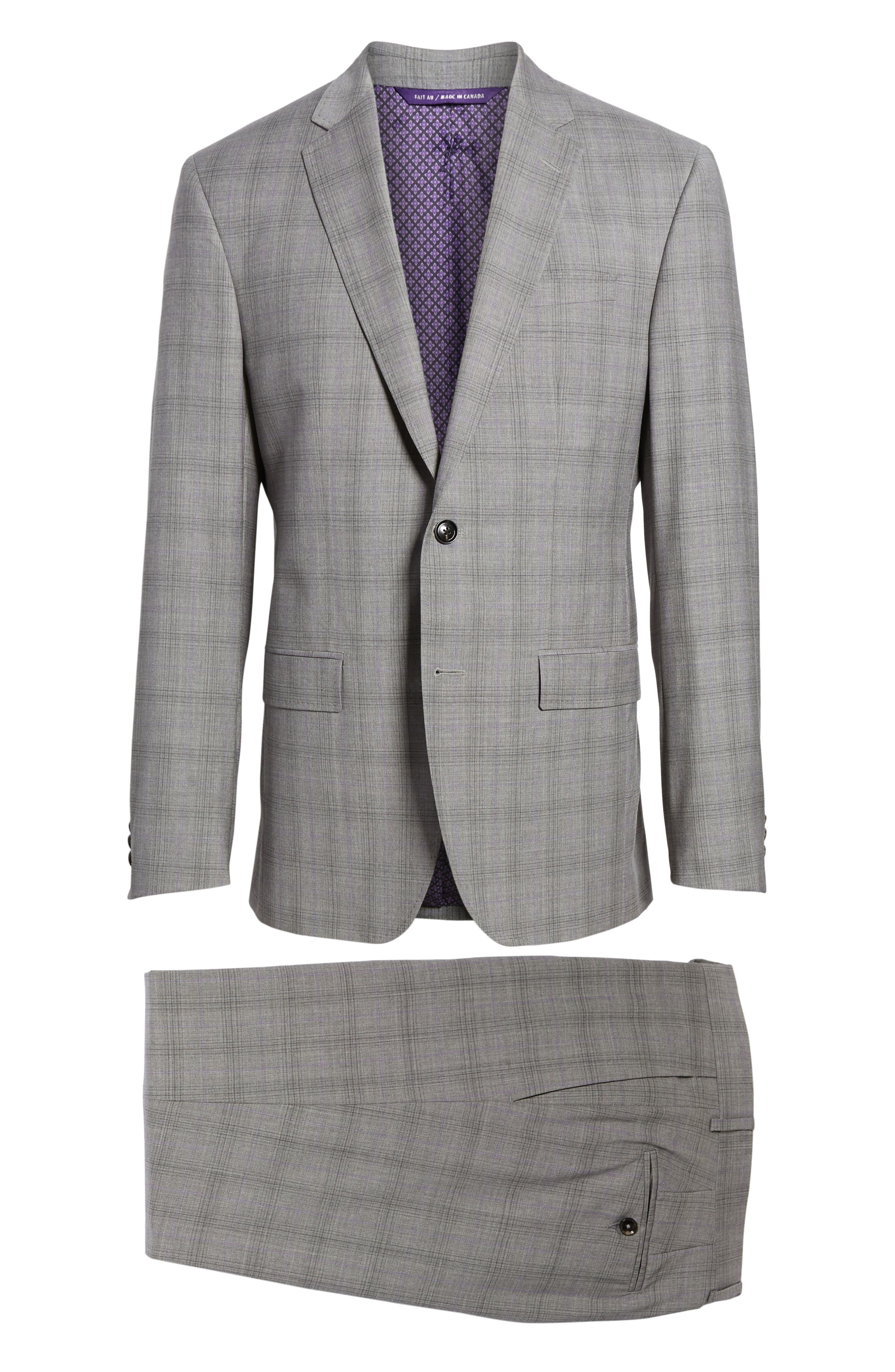 Jay Trim Fit Plaid Wool Suit,                             Alternate thumbnail 8, color,                             Light Grey