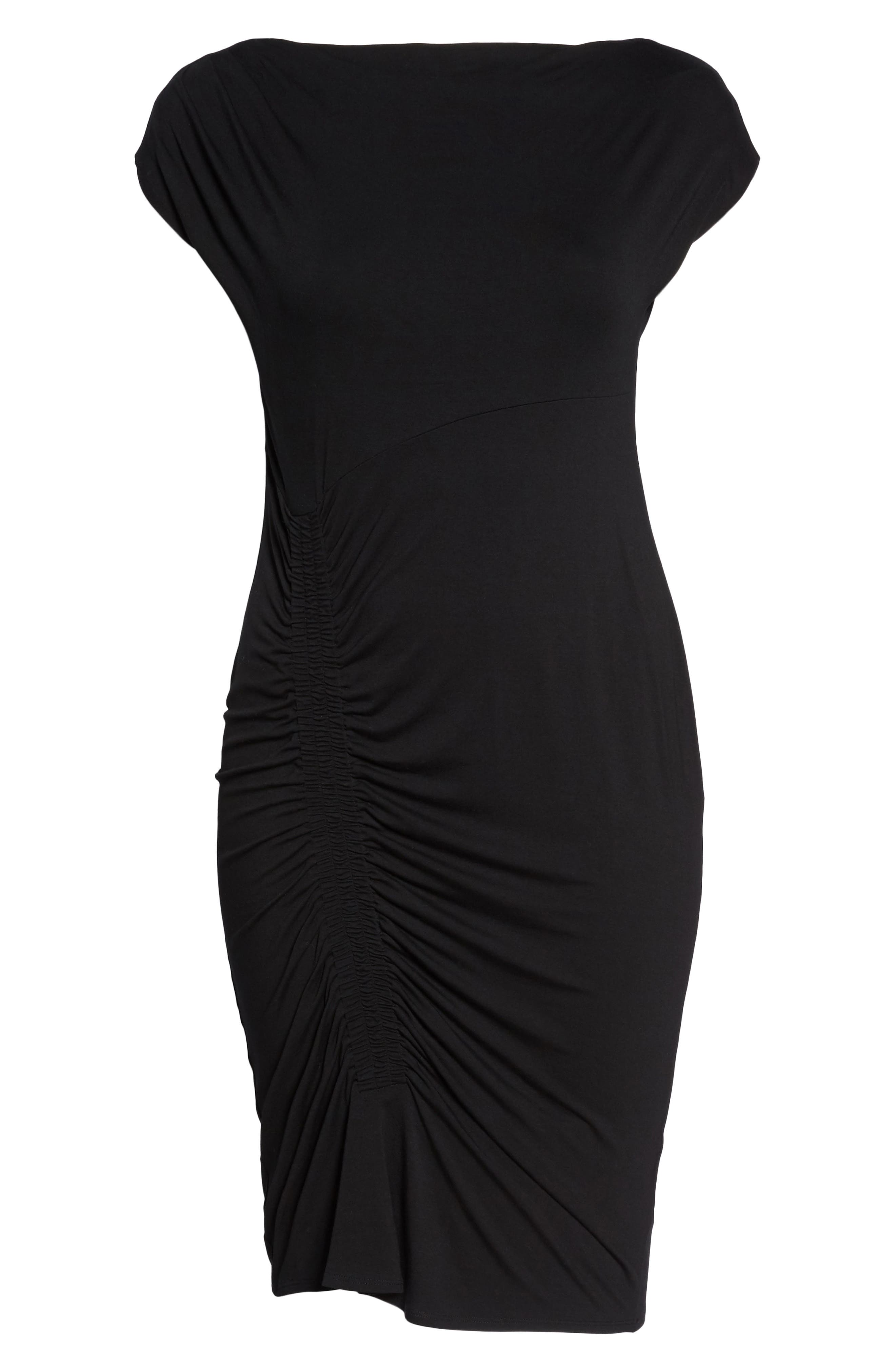 Side Ruched Sheath Dress,                             Alternate thumbnail 6, color,                             Rich Black