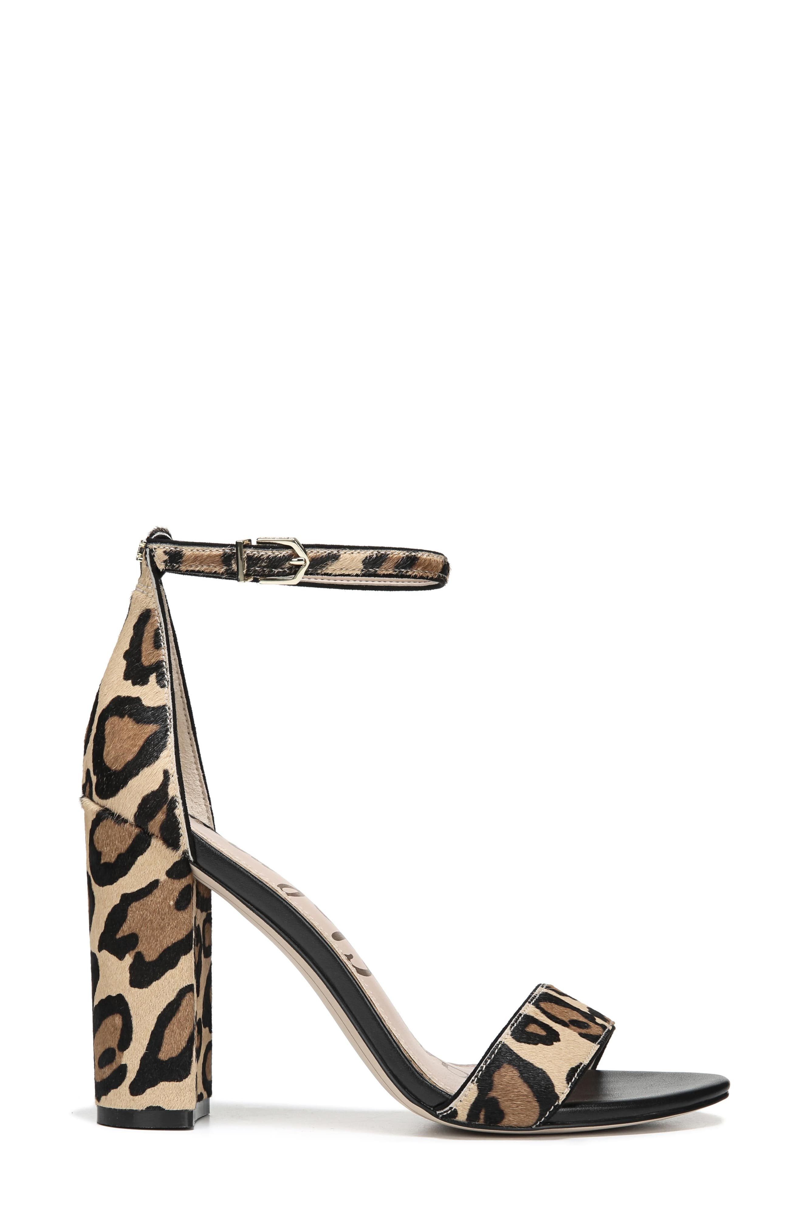 Yaro Ankle Strap Sandal,                             Alternate thumbnail 3, color,                             New Nude Leopard Calf Hair
