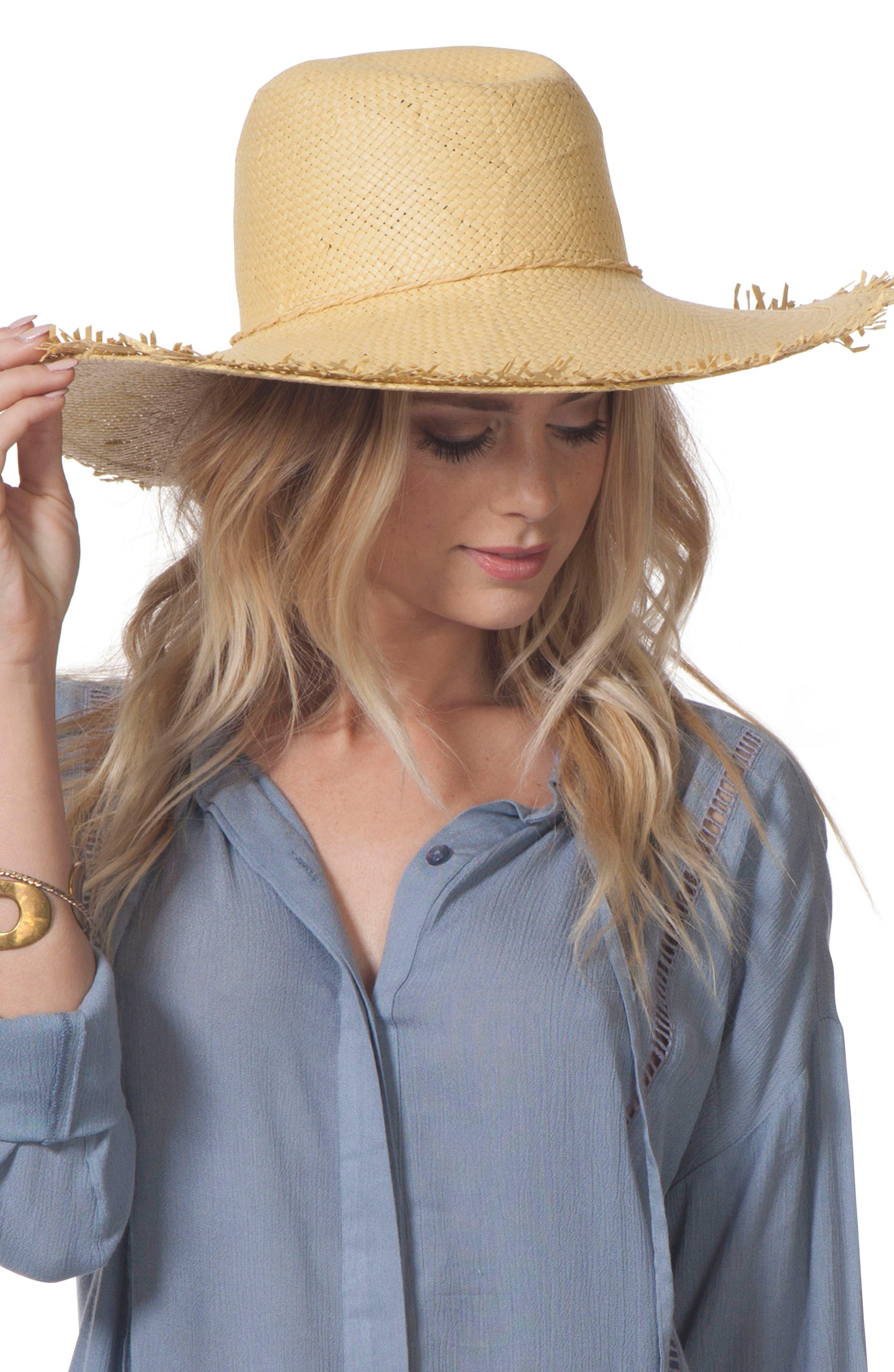 Sandy Boho Straw Hat,                             Main thumbnail 1, color,                             Natural