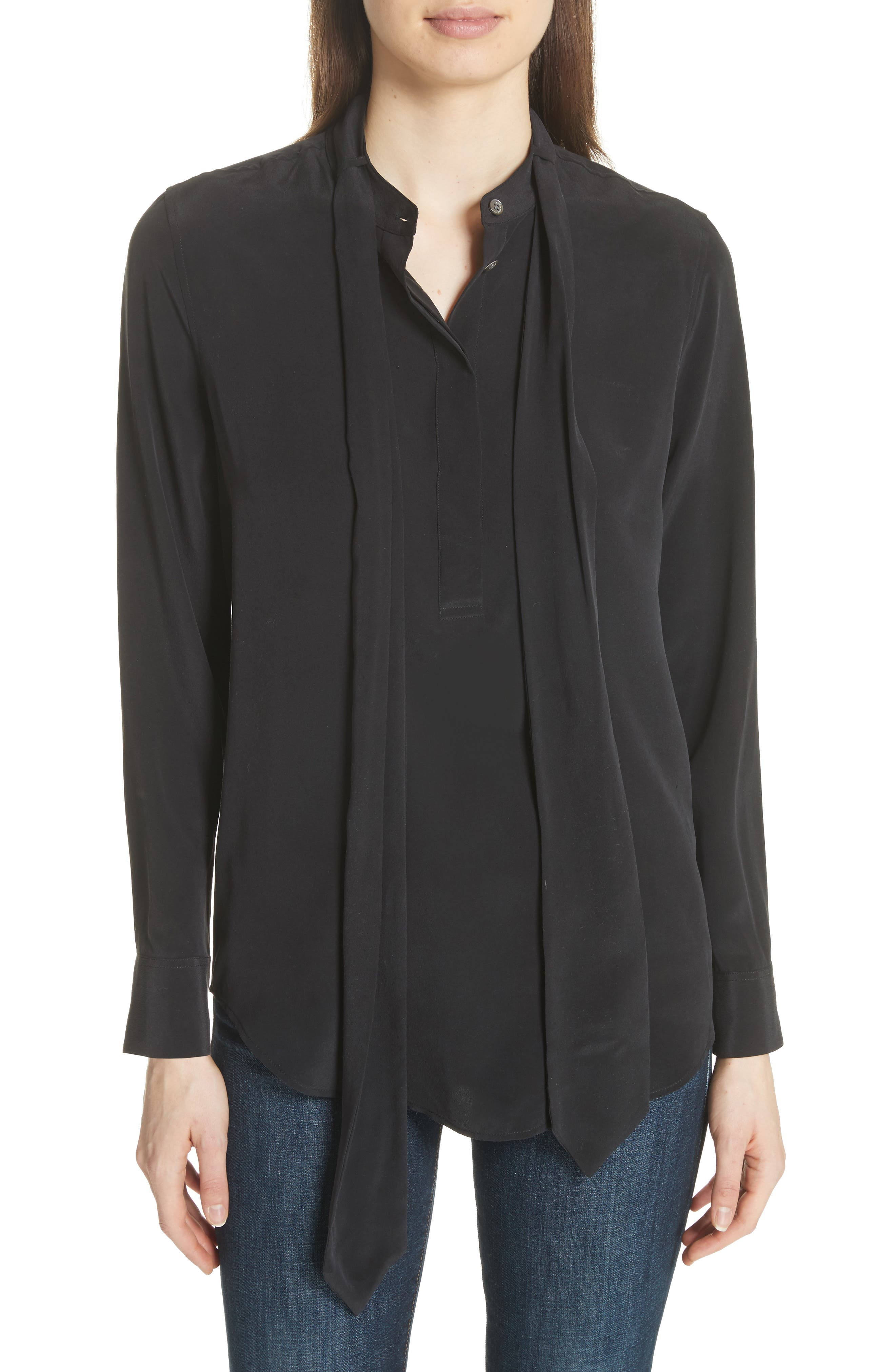 Carleen Tie Neck Silk Blouse,                             Main thumbnail 1, color,                             True Black