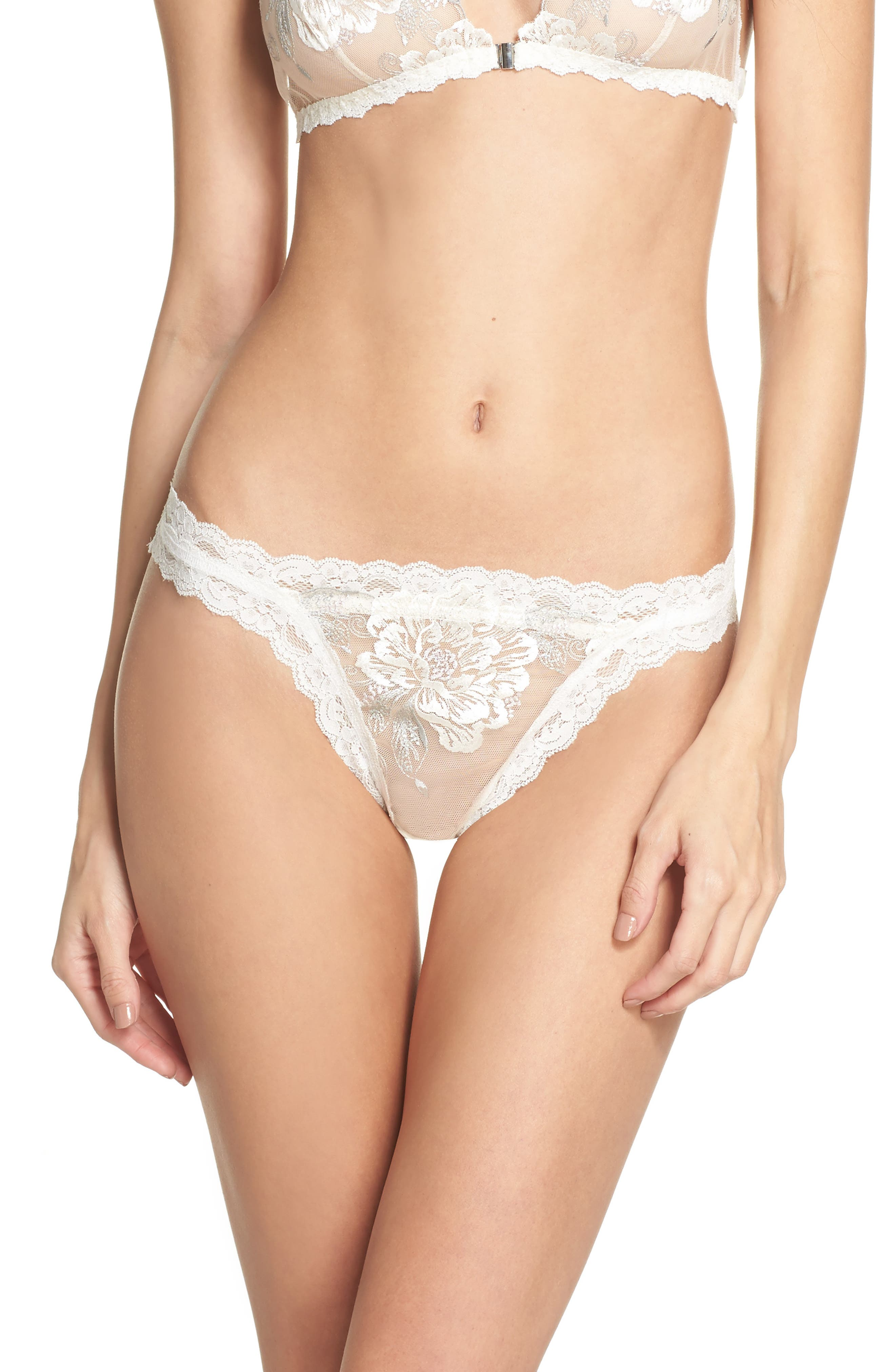 Floral Embroidered Bikini,                             Main thumbnail 1, color,                             Ivorgrypnk