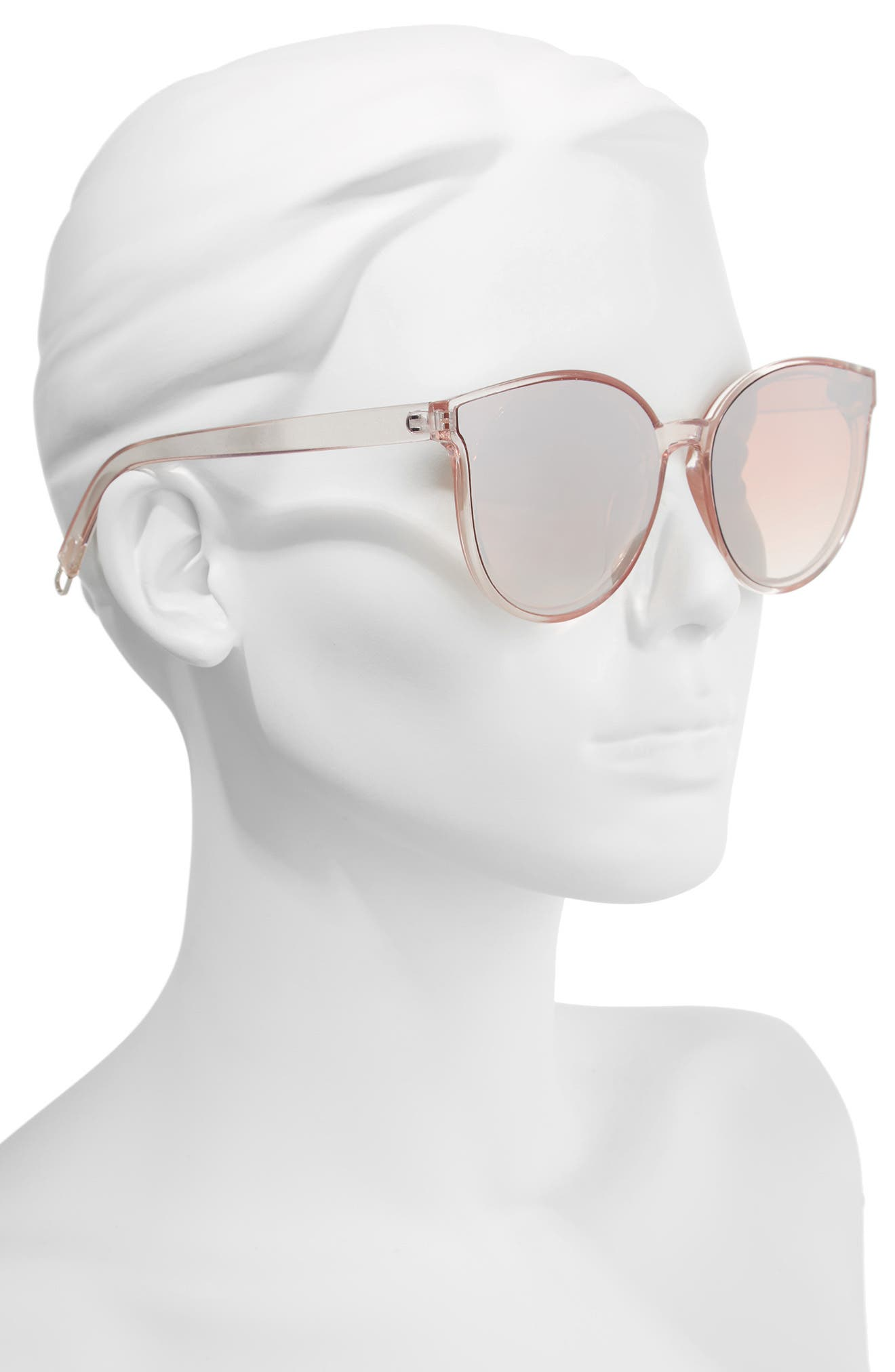 59mm Metal Tip Round Sunglasses,                             Alternate thumbnail 2, color,                             Clear/ Pink
