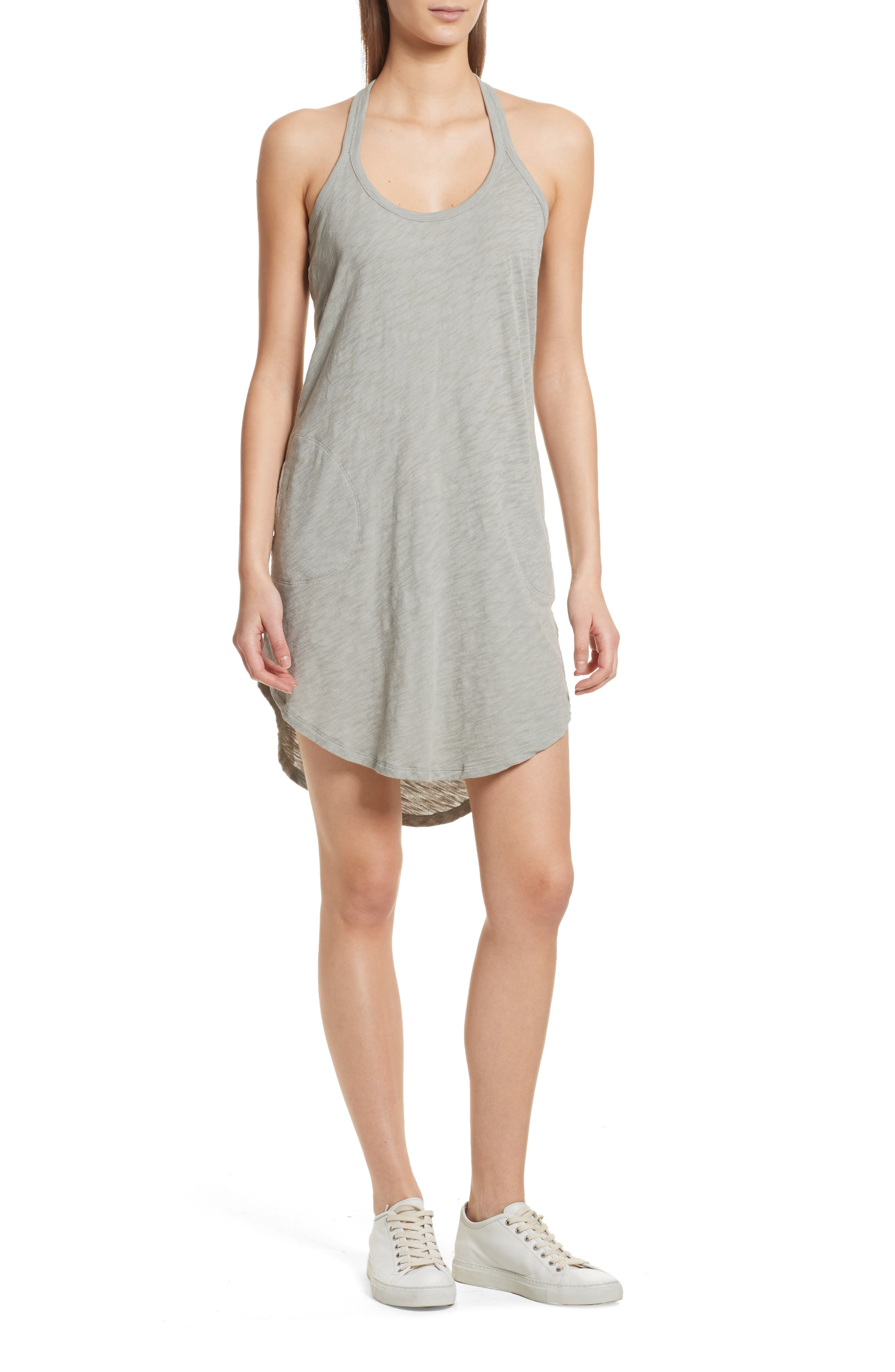 Cotton Trapeze Tank Dress,                         Main,                         color, Pale Moss