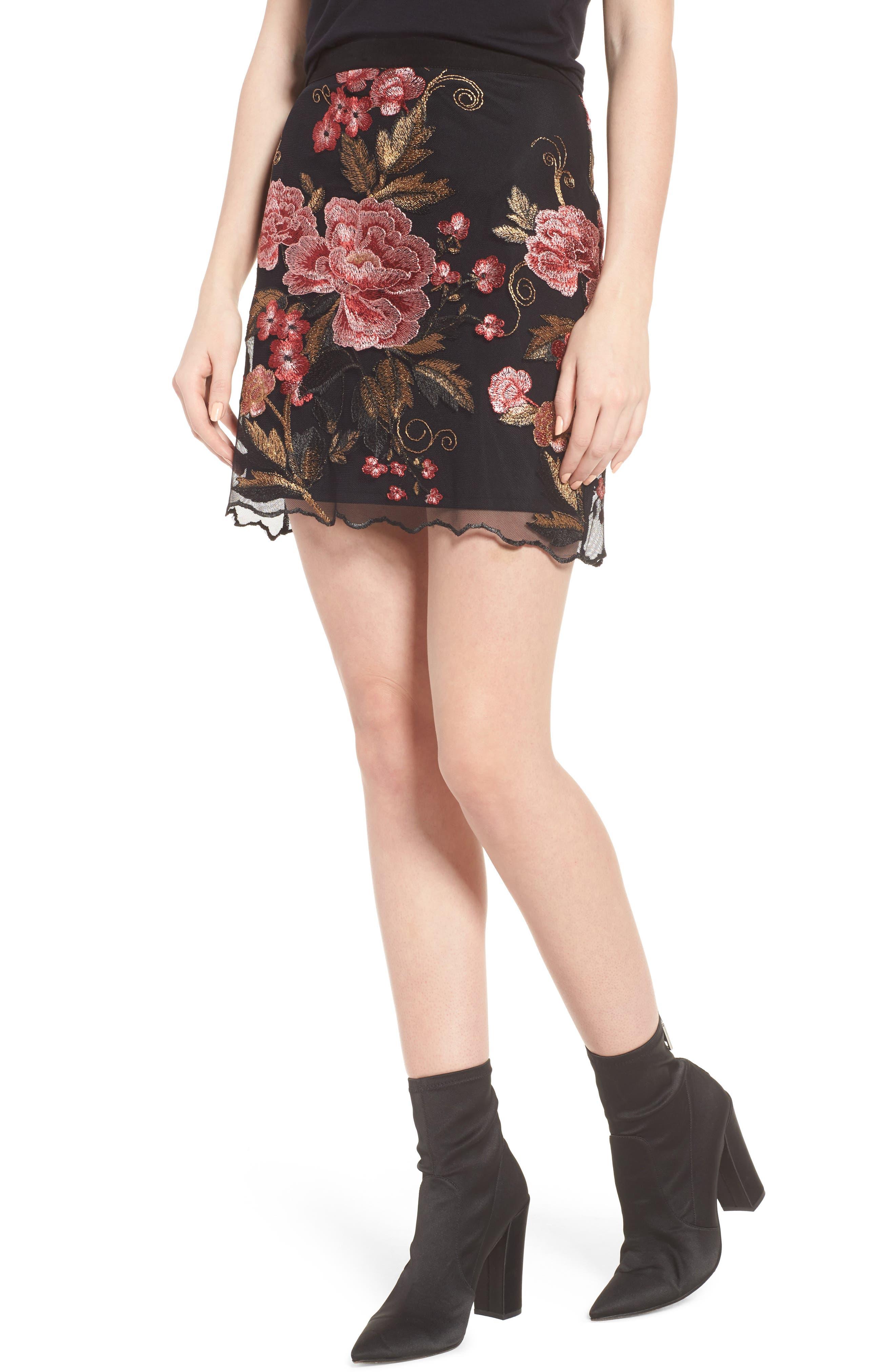 Sunset Embroidered Skirt,                         Main,                         color, Black/ Rose