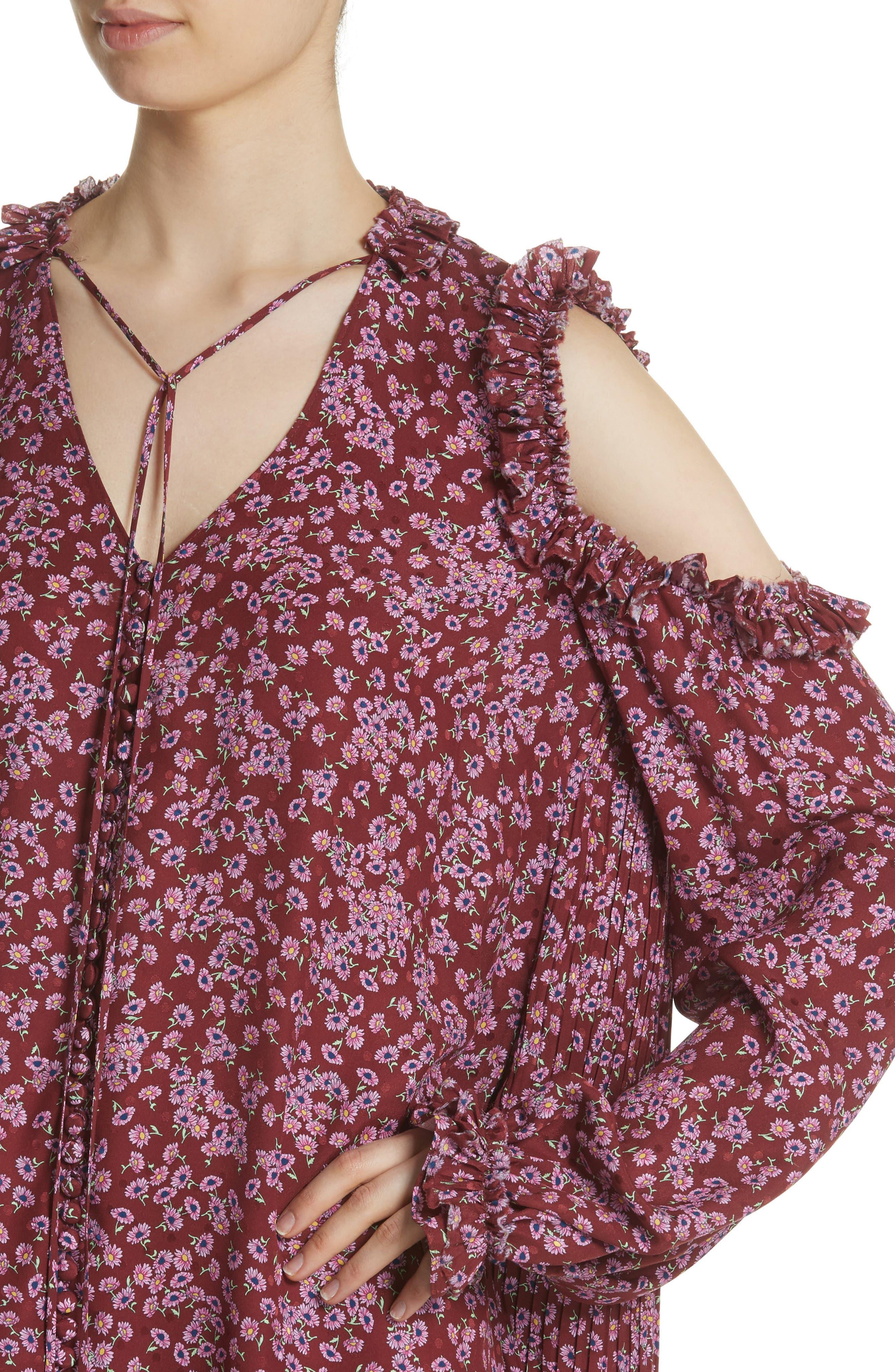 Floral Silk Cold Shoulder Dress,                             Alternate thumbnail 6, color,                             Bordeaux