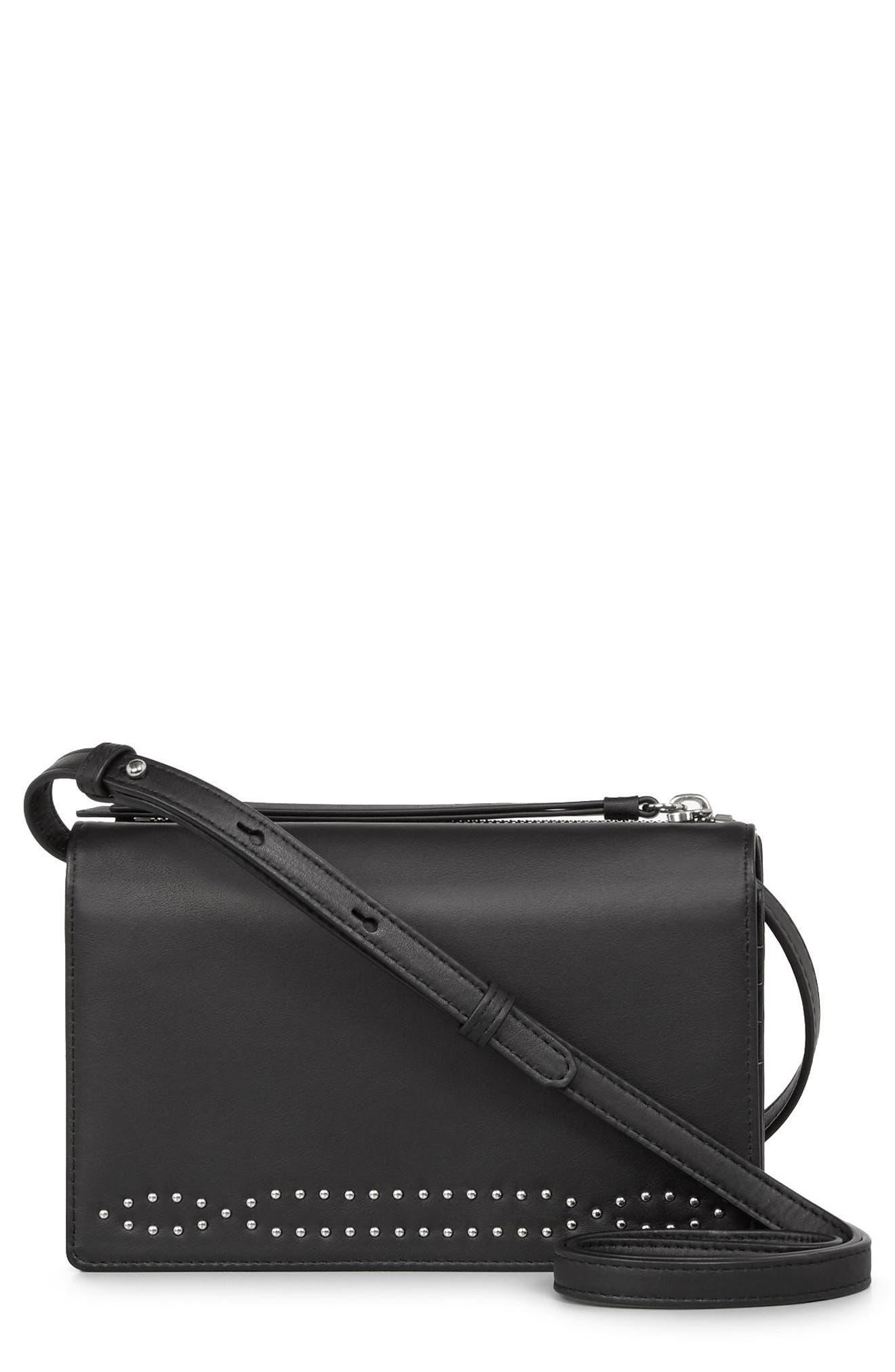 Billie Leather Wallet,                         Main,                         color, Black