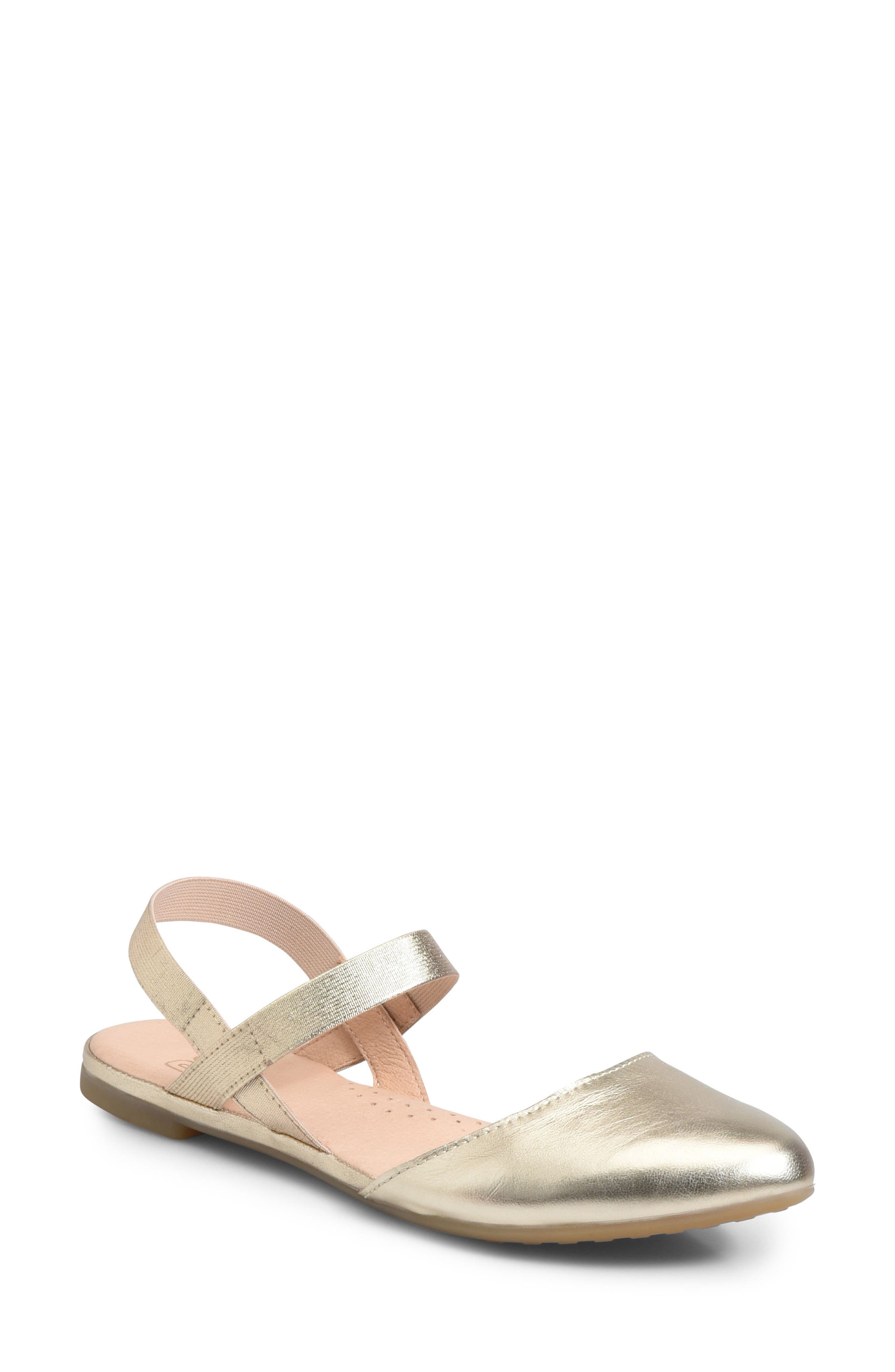 Free Ankle Strap Flat,                         Main,                         color, Gold Metallic Leather
