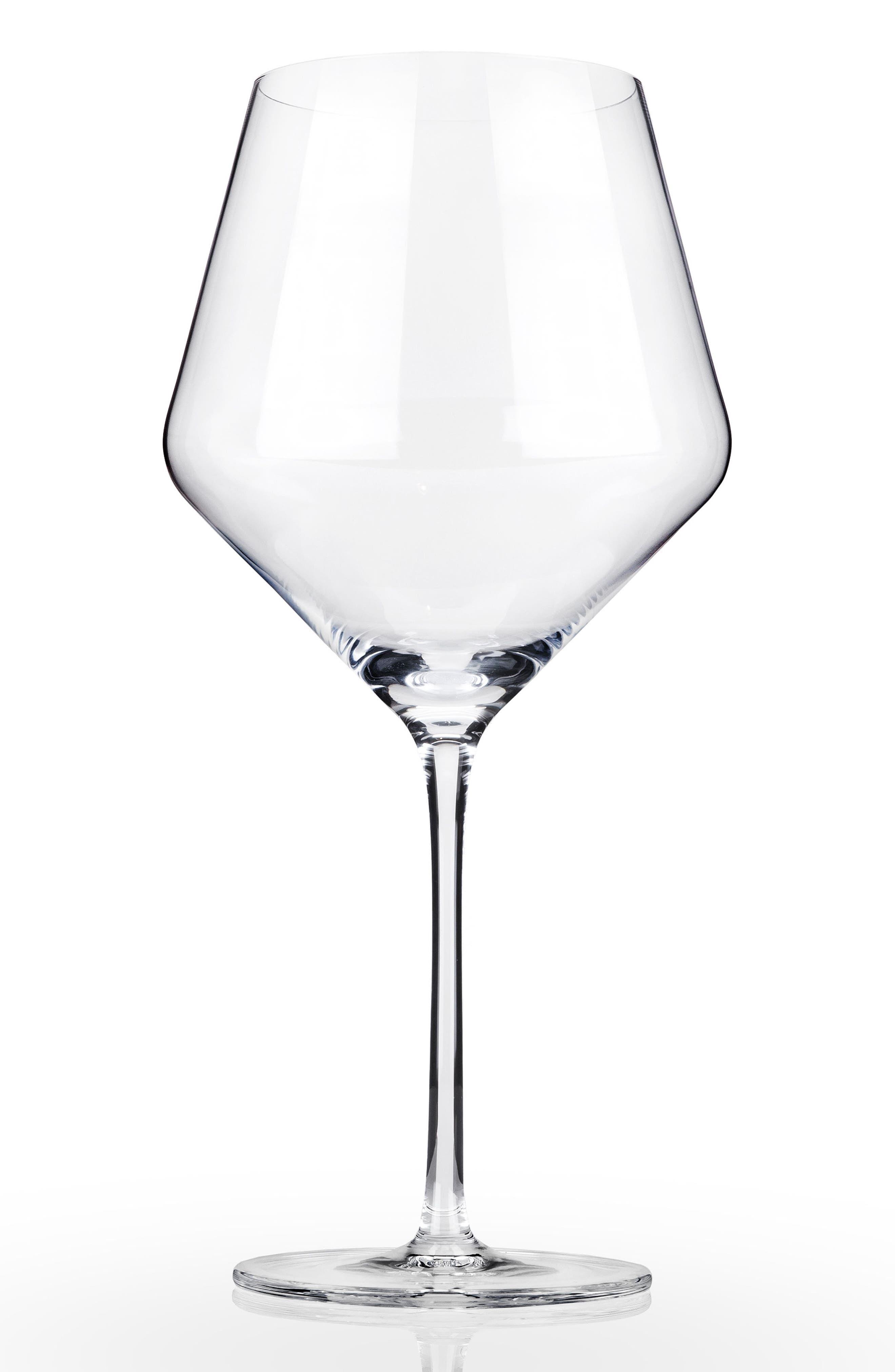 Raye Set of 2 Burgundy Glasses,                             Main thumbnail 1, color,                             Clear