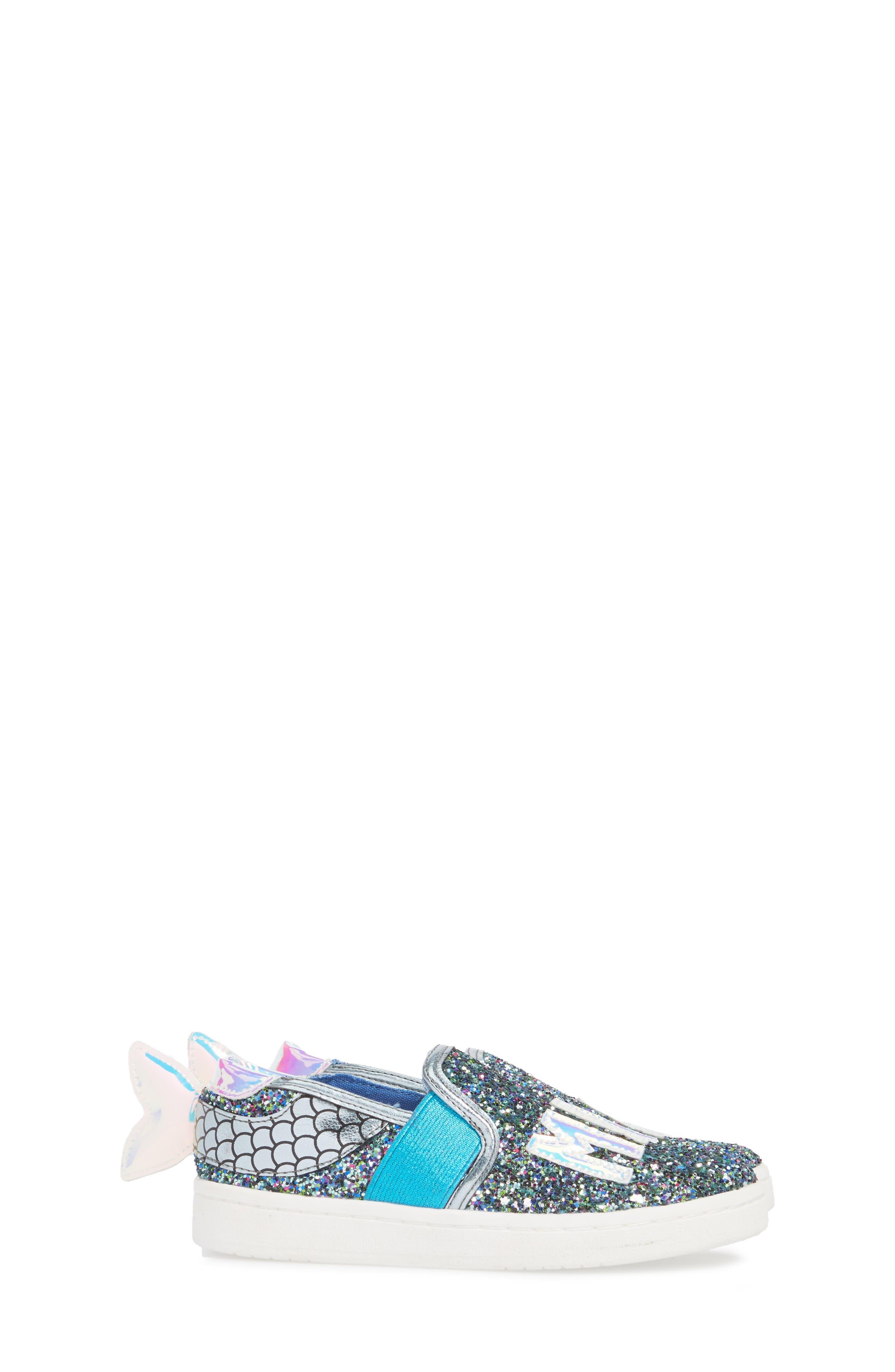Blane Slip-On Sneaker,                             Alternate thumbnail 3, color,                             Blue Glitter