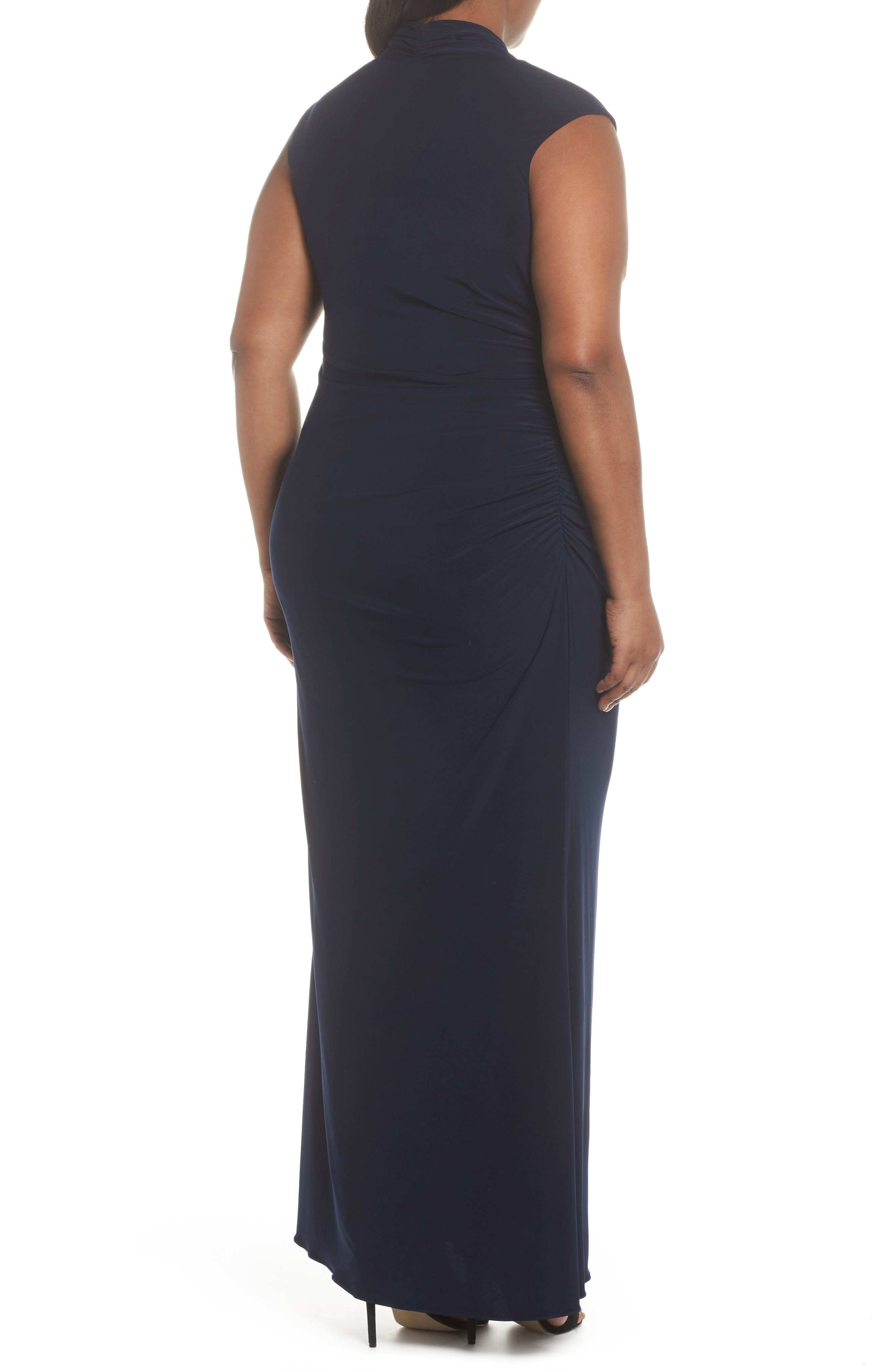 Cowl Neck Jersey Gown,                             Alternate thumbnail 2, color,                             Midnight