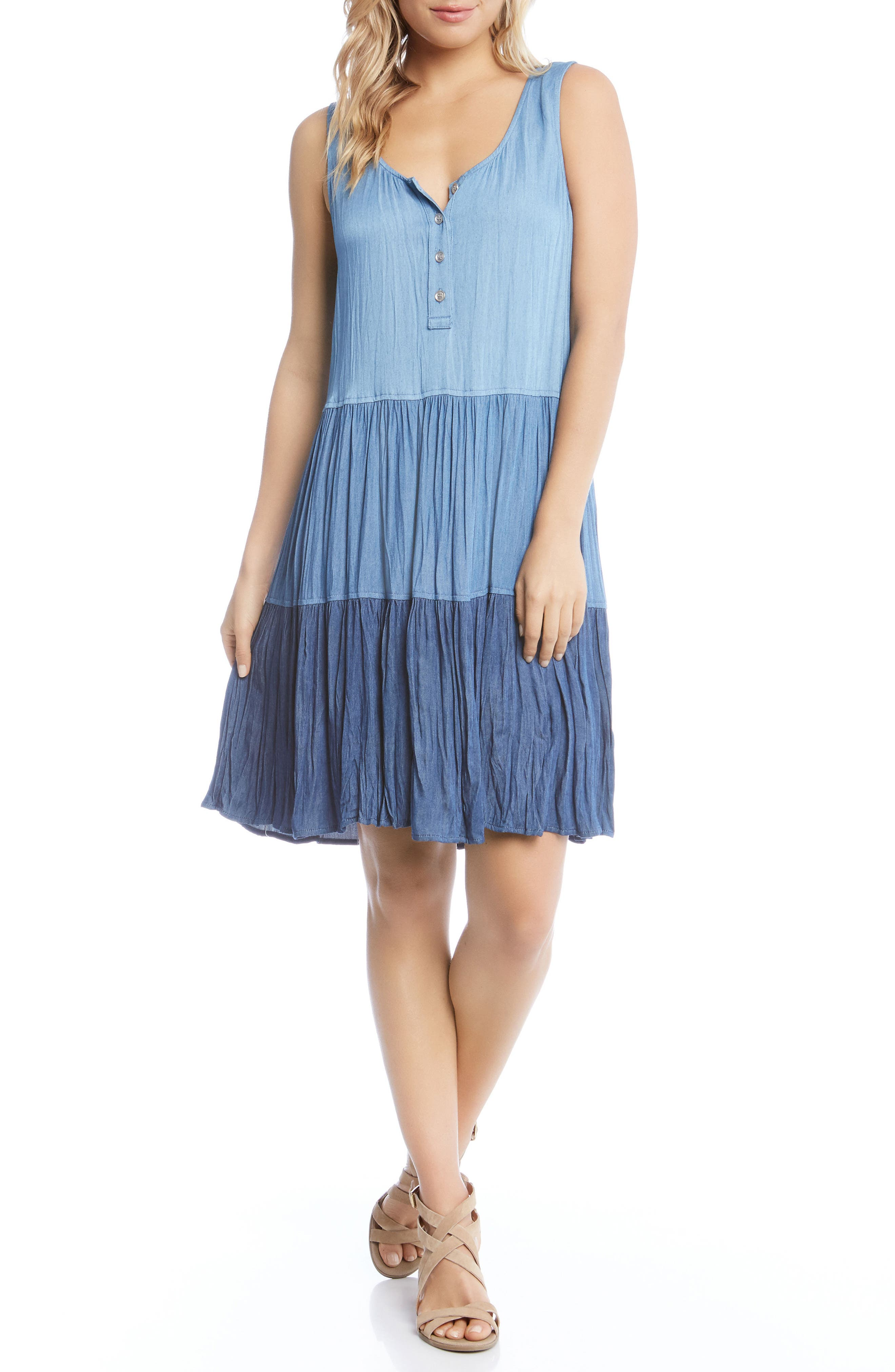 Tiered Chambray Dress,                             Main thumbnail 1, color,                             Multi-Colored