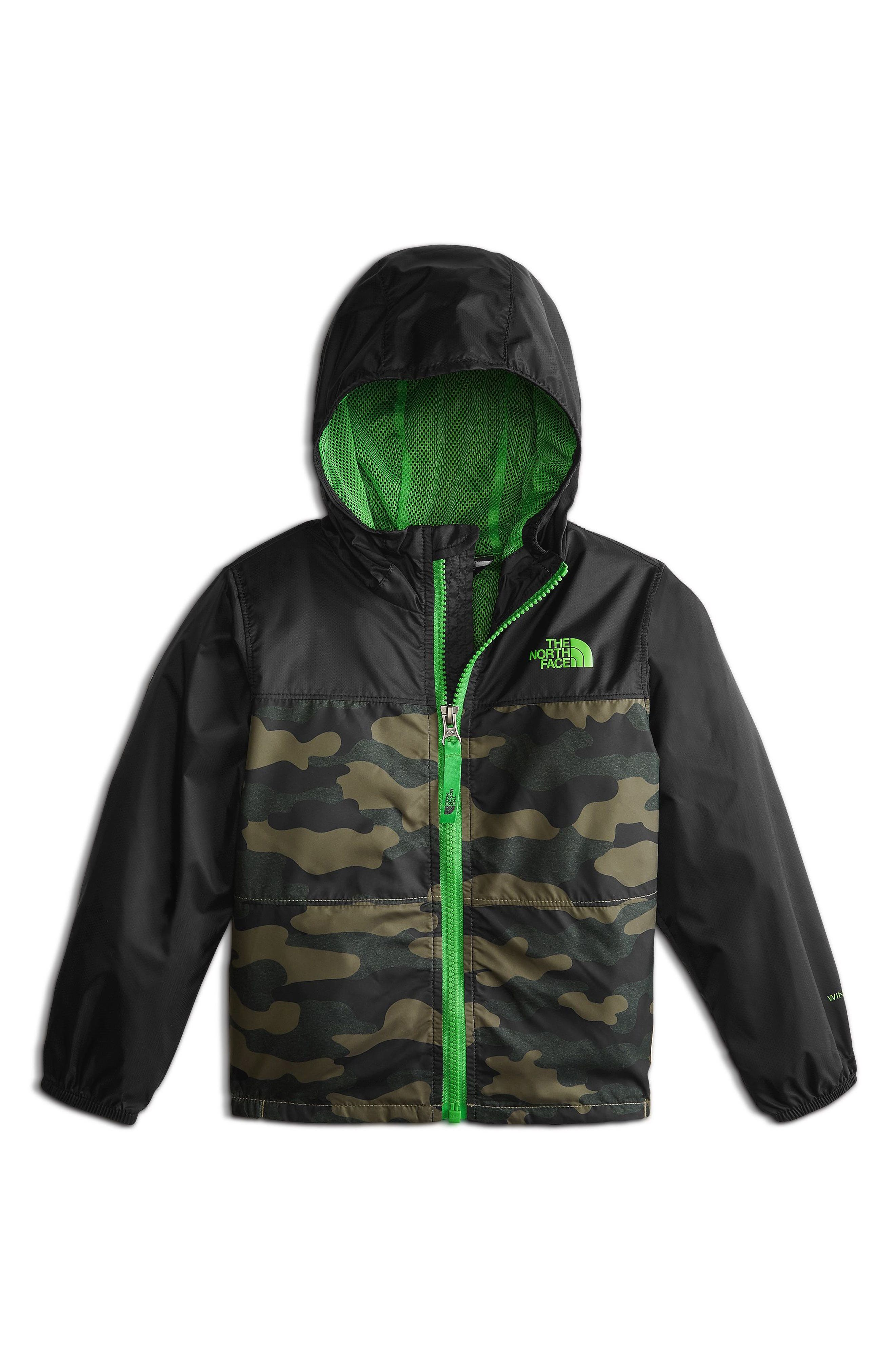 Flurry Hooded Windbreaker Jacket,                         Main,                         color, Burnt Olive Green/ Camo