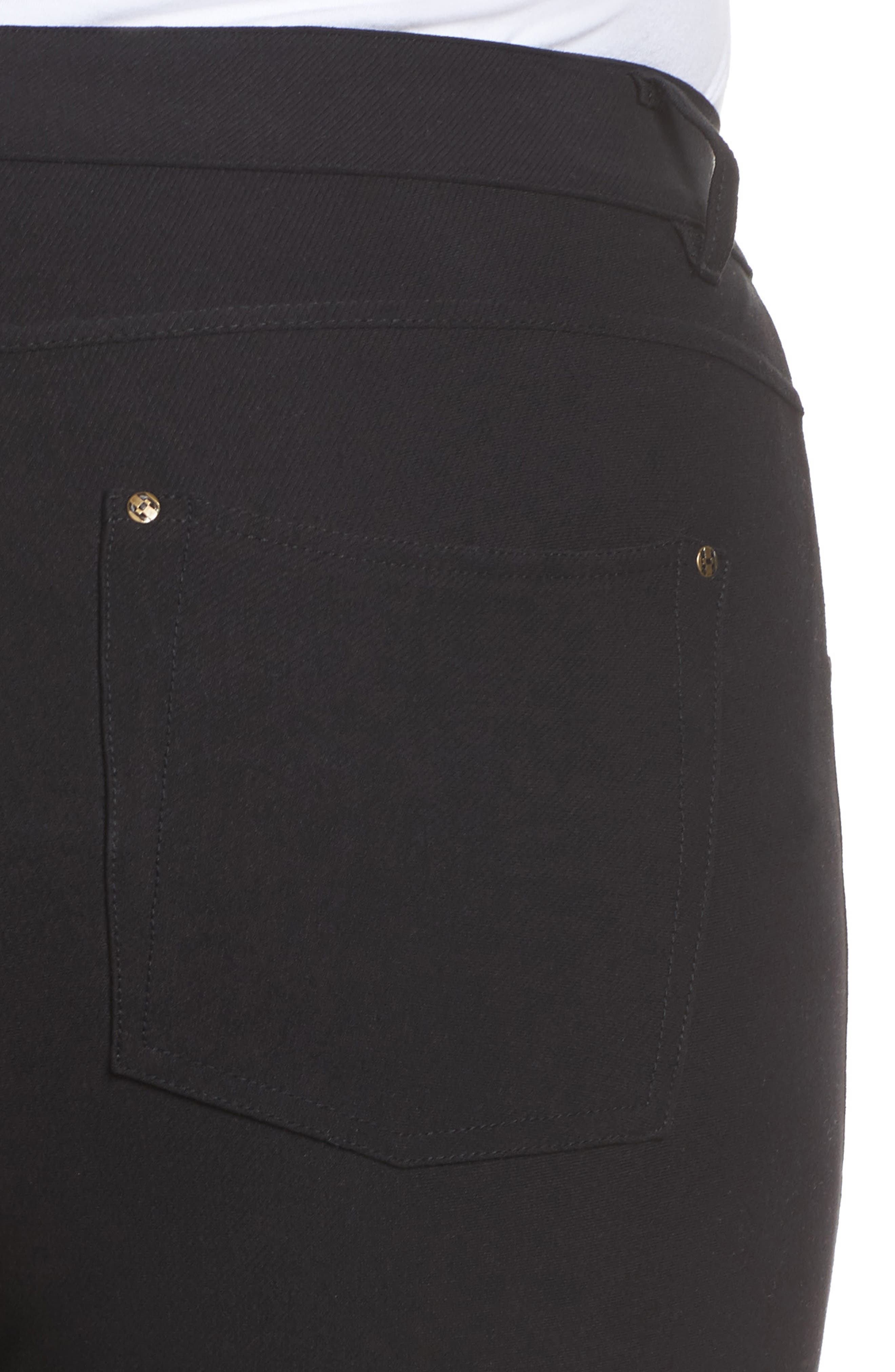 Ankle Slit Crop Denim Leggings,                             Alternate thumbnail 4, color,                             Black