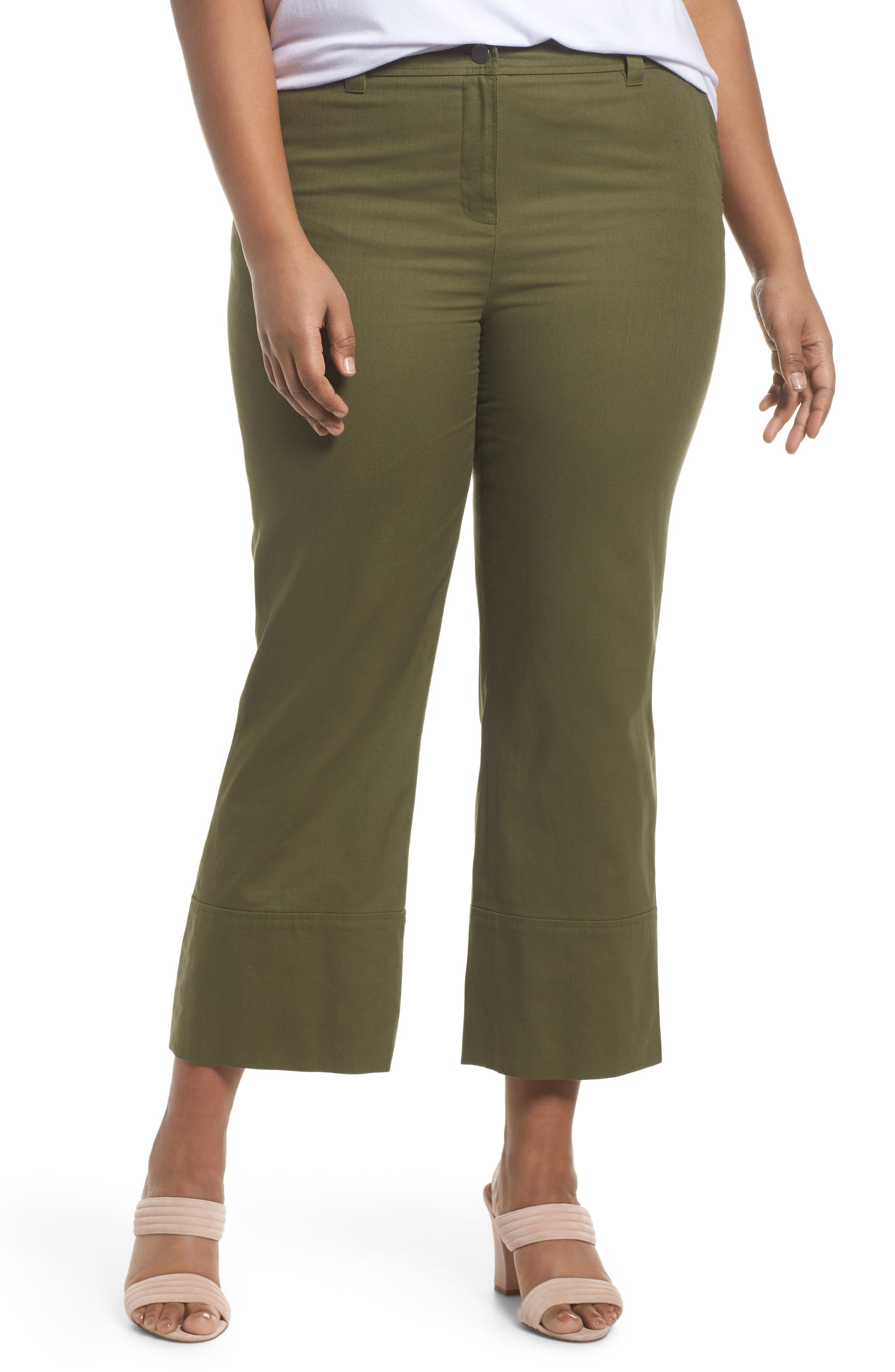 Wide Leg Ankle Pants,                             Main thumbnail 1, color,                             Olive Moss