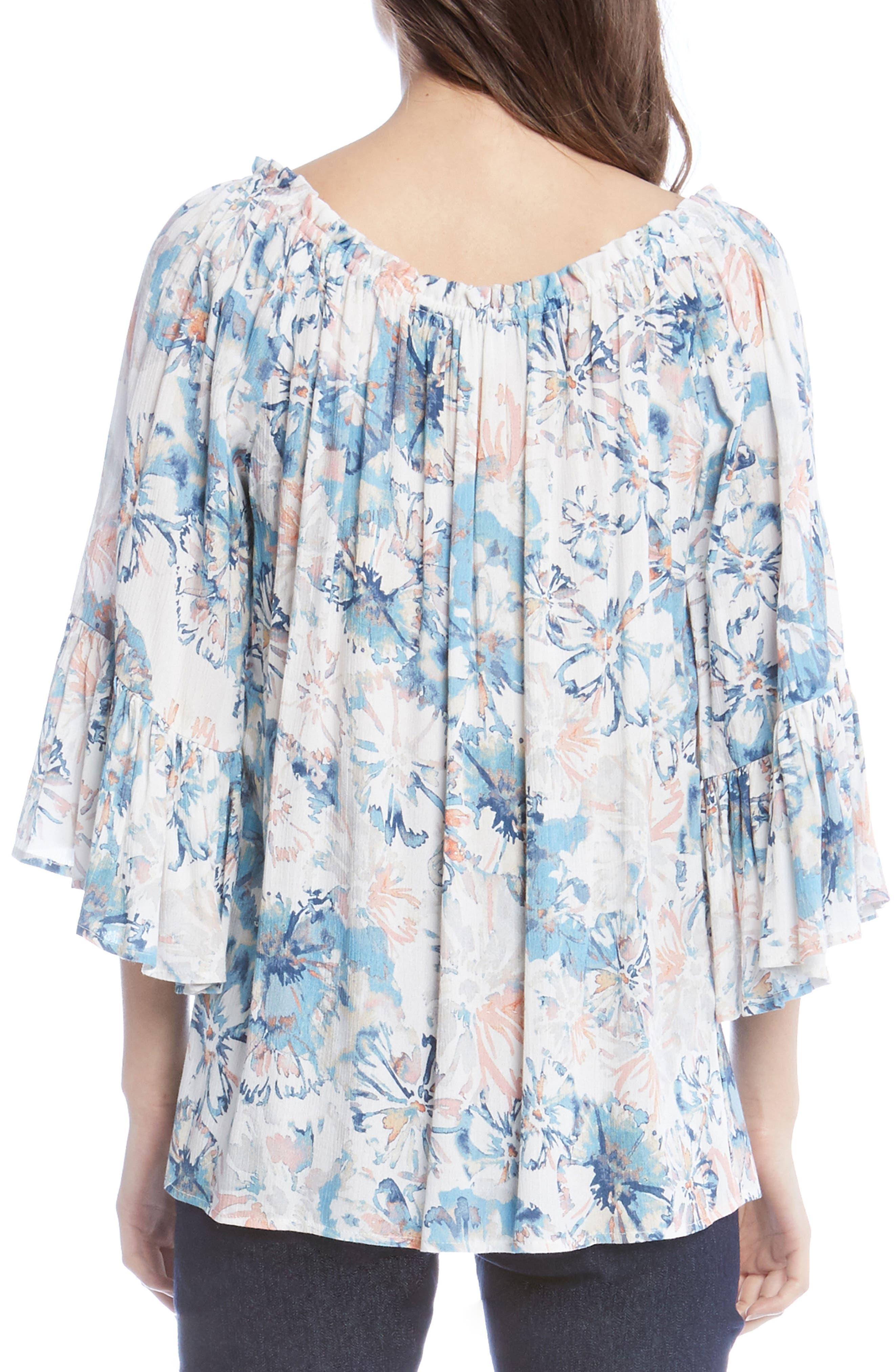 Floral Off the Shoulder Convertible Top,                             Alternate thumbnail 2, color,                             Power Blue