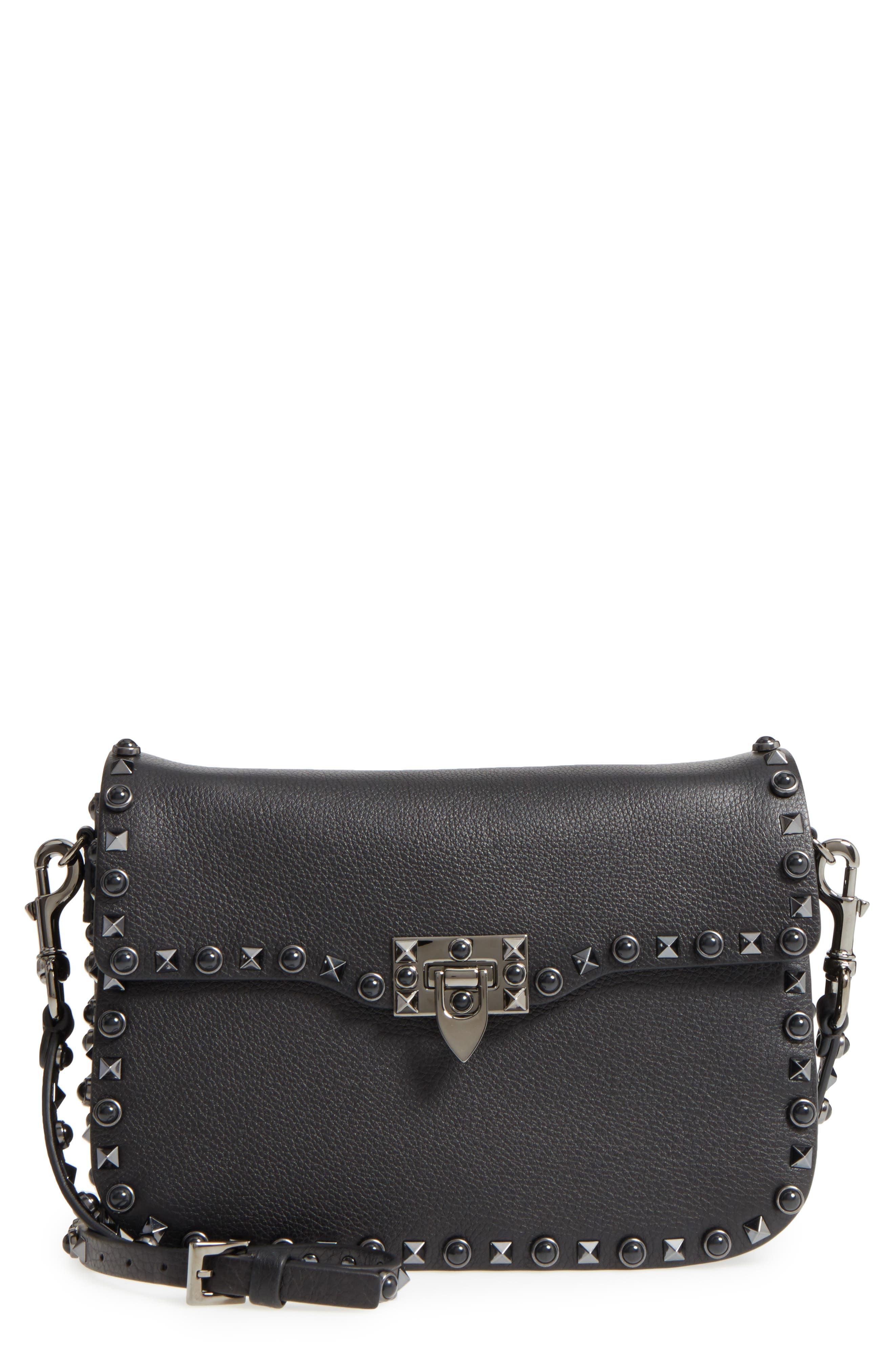 Rockstud Leather Shoulder Bag,                             Main thumbnail 1, color,                             Nero