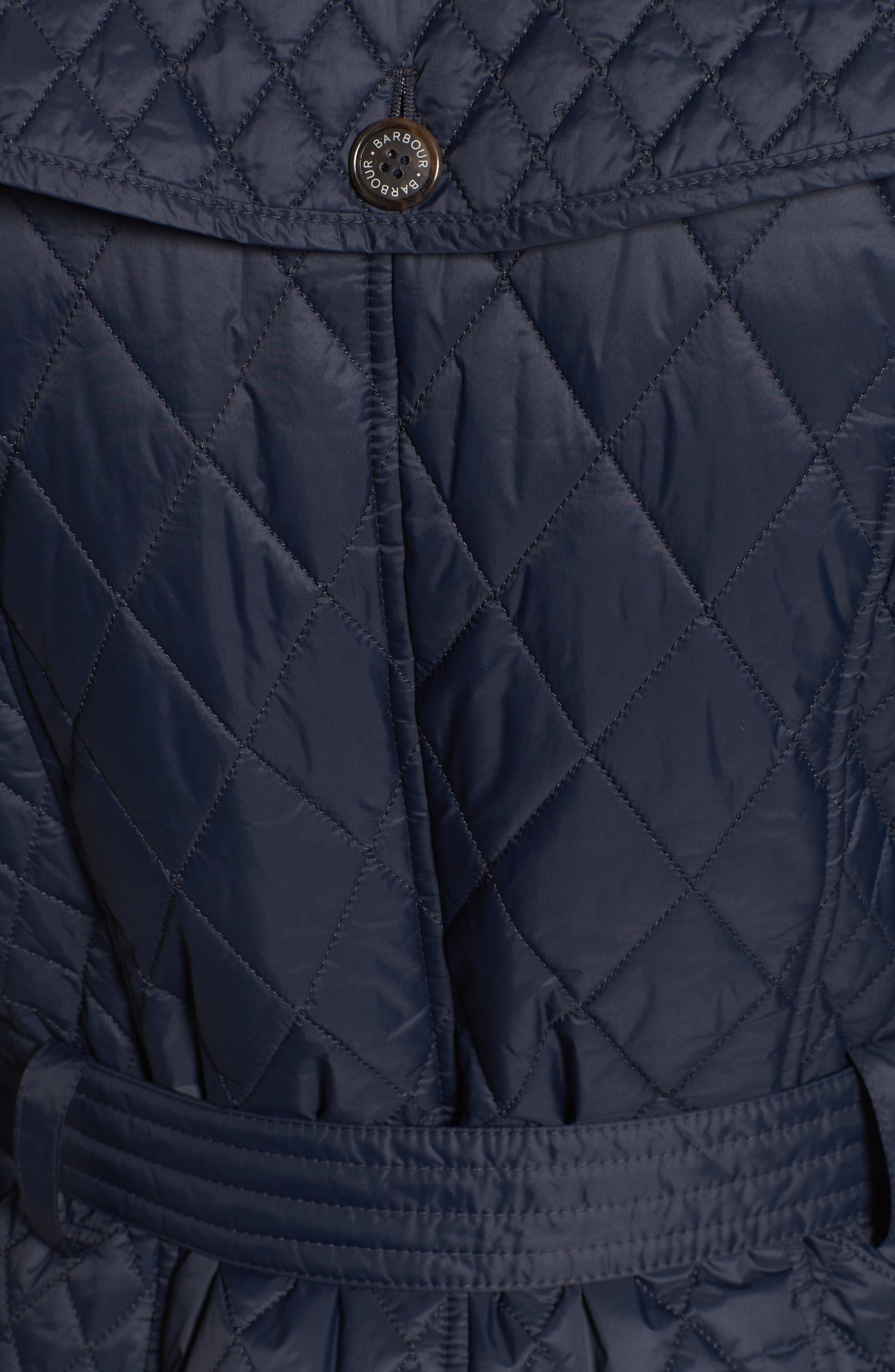 Hailes Quilted Trench Jacket,                             Alternate thumbnail 5, color,                             Navy