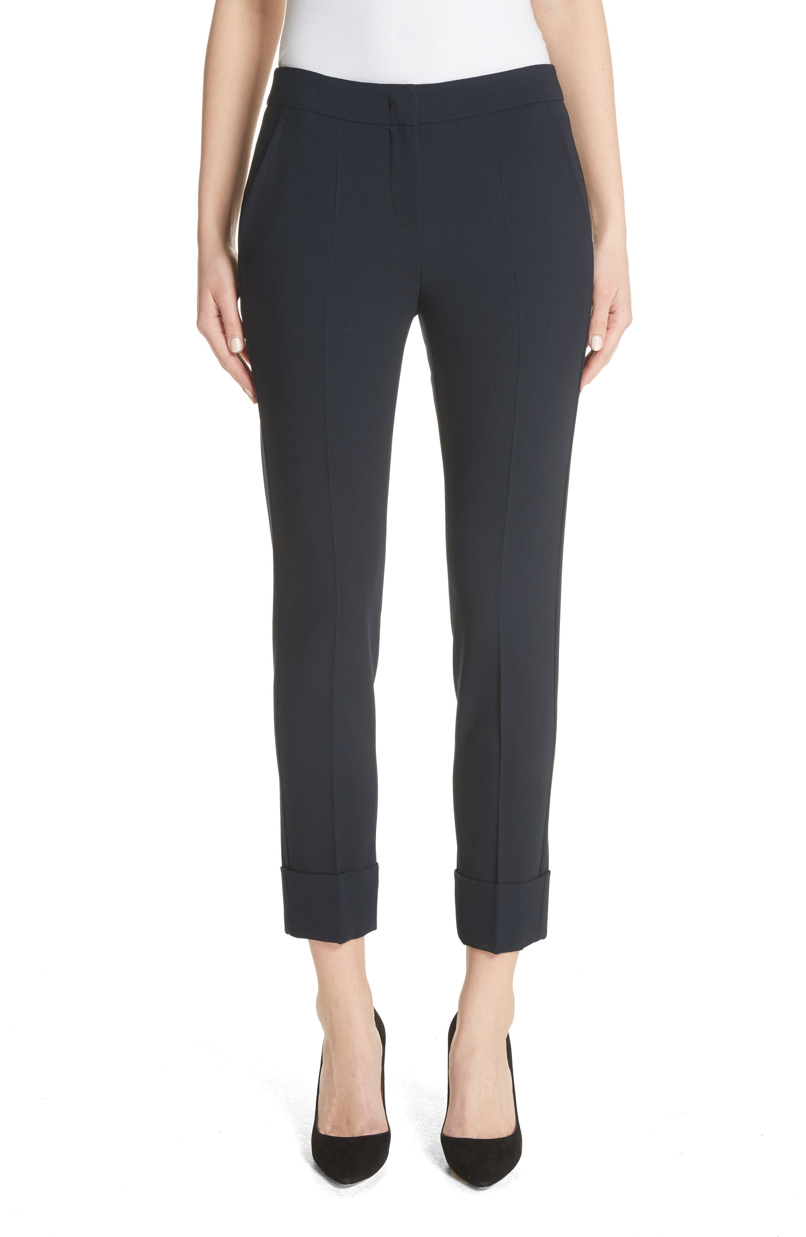 Stretch Wool Crepe Cuffed Pants,                         Main,                         color, Navy