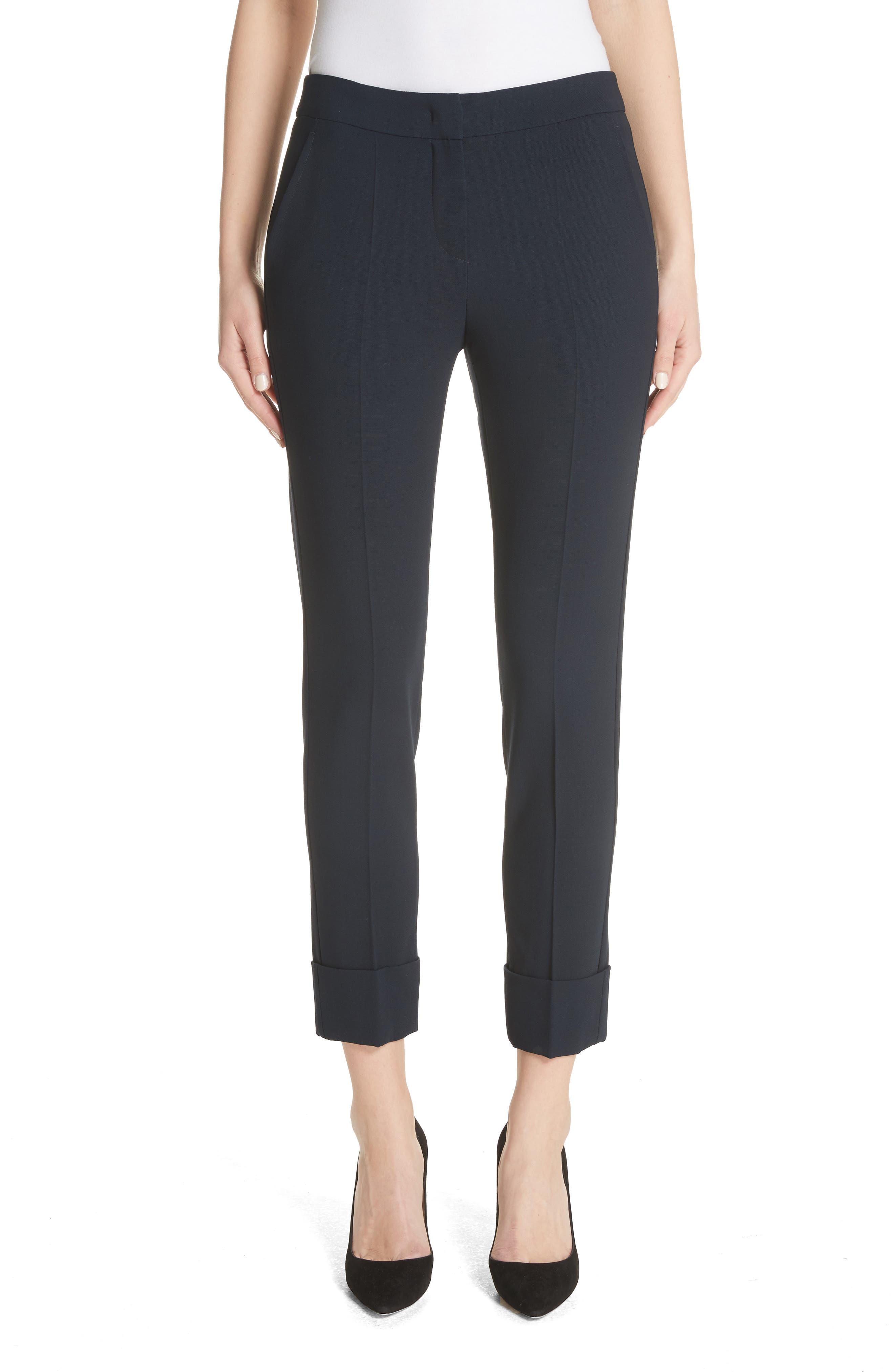 Emporio Armani Stretch Wool Crepe Cuffed Pants