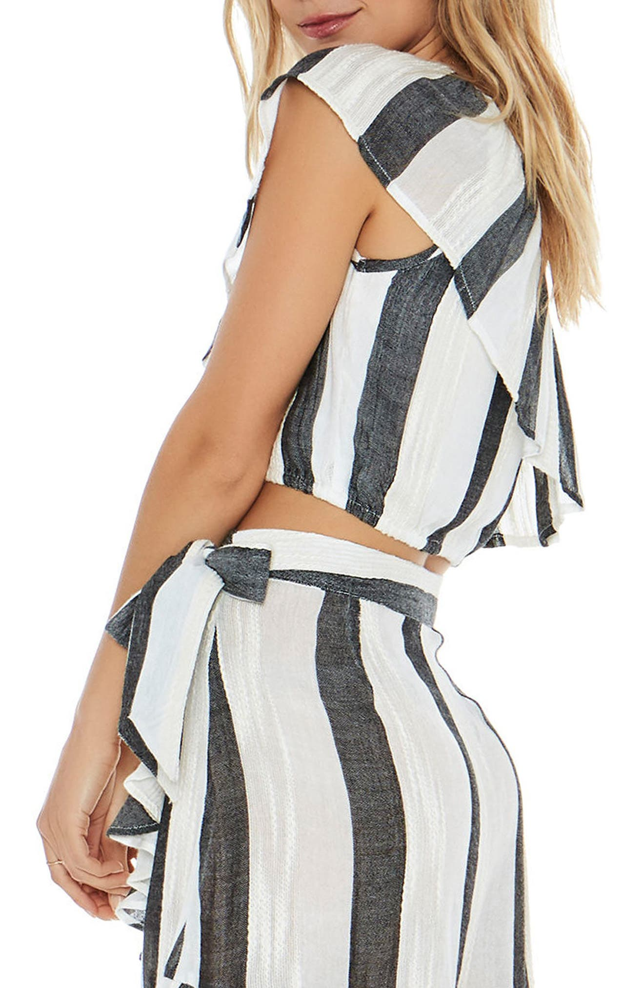 Alicia One-Shoulder Cover-Up Top,                             Alternate thumbnail 3, color,                             Beach Bum Stripe