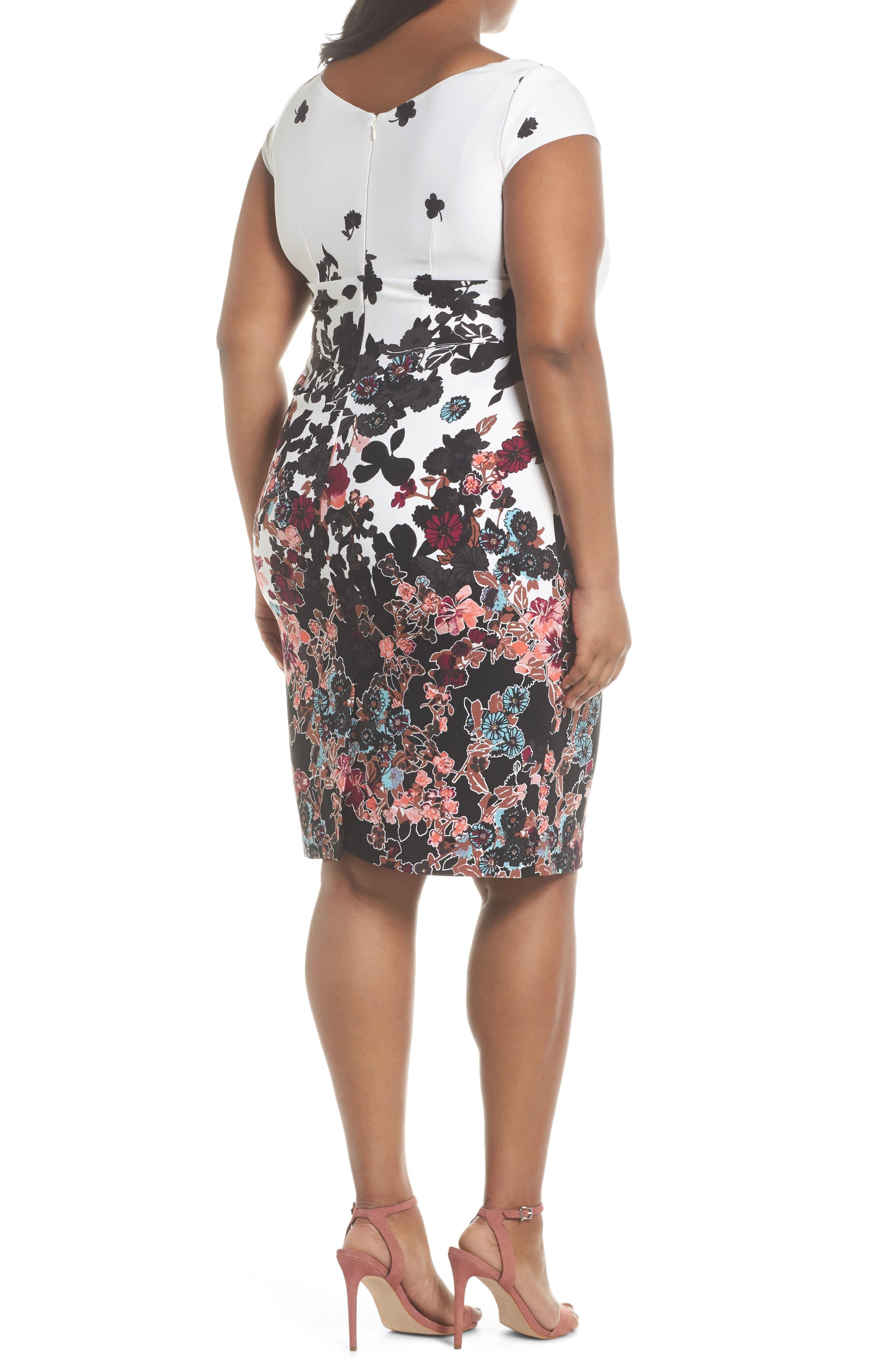 Alternate Image 2  - Adrianna Papell Floral Bliss Draped Sheath Dress (Plus Size)