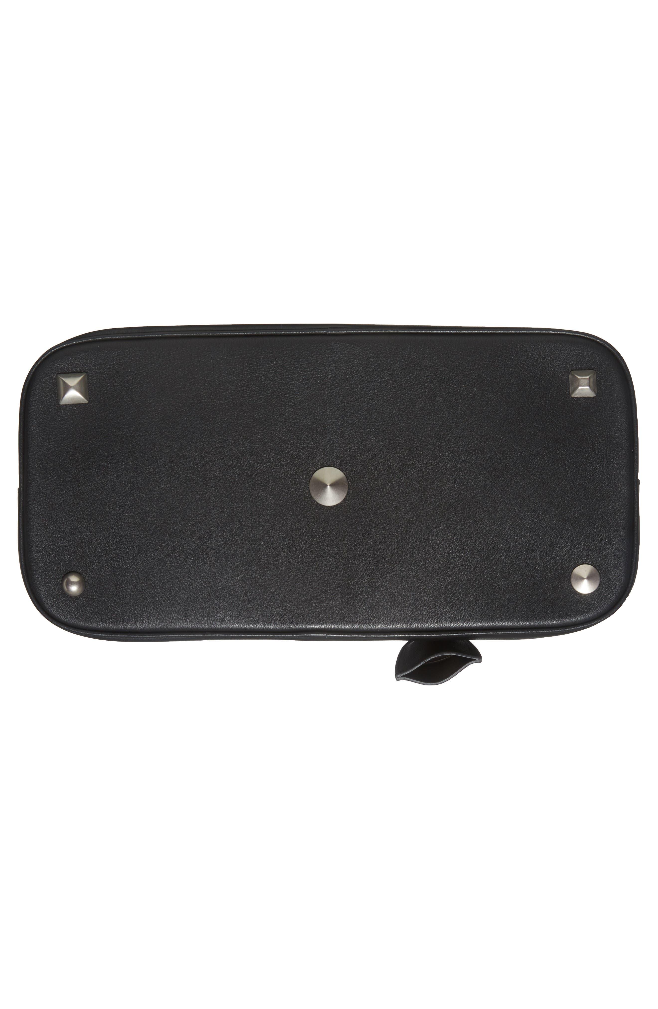 Medium 5AC Leather Handbag,                             Alternate thumbnail 6, color,                             Black