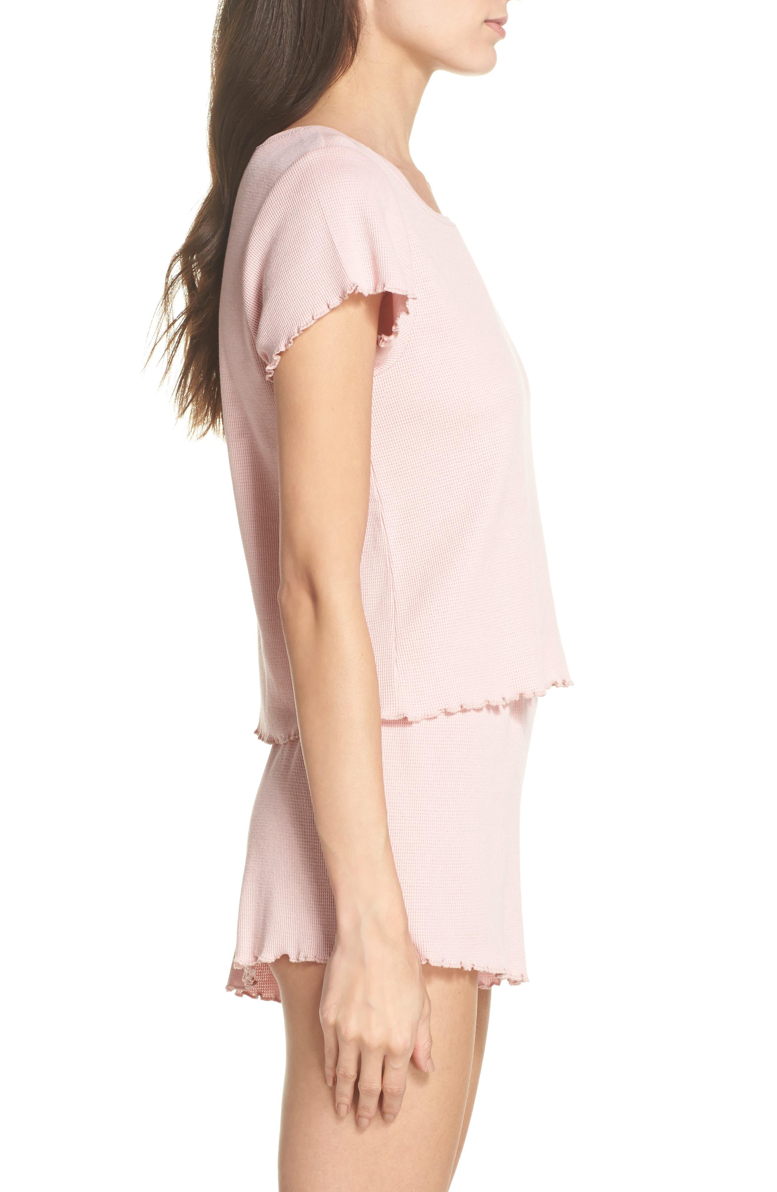 Thermal Short Pajamas,                             Alternate thumbnail 3, color,                             Pink Silver