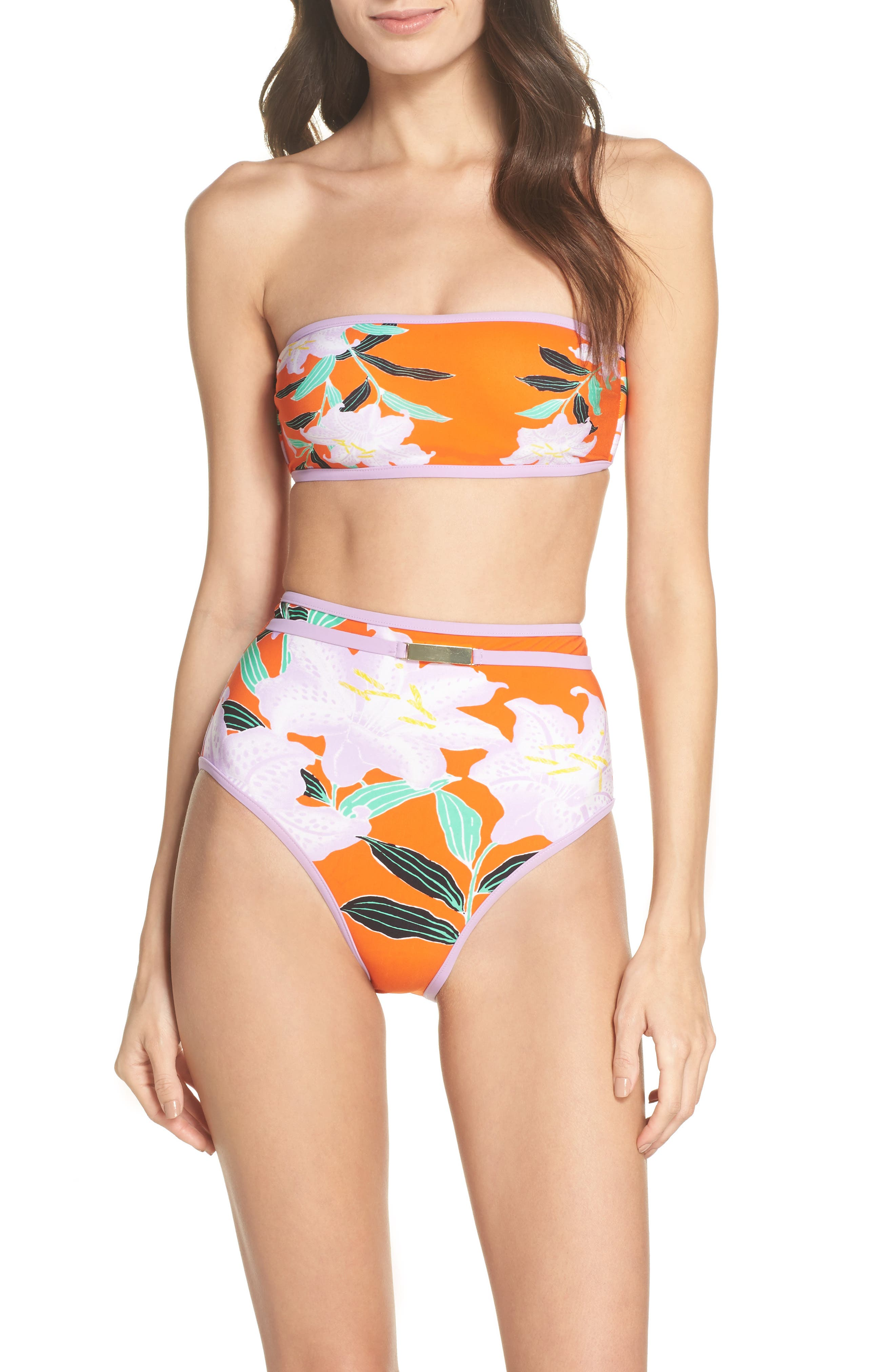 Print Bandeau Bikini Top,                             Alternate thumbnail 5, color,                             Argos Sm All Clem/ Lavender