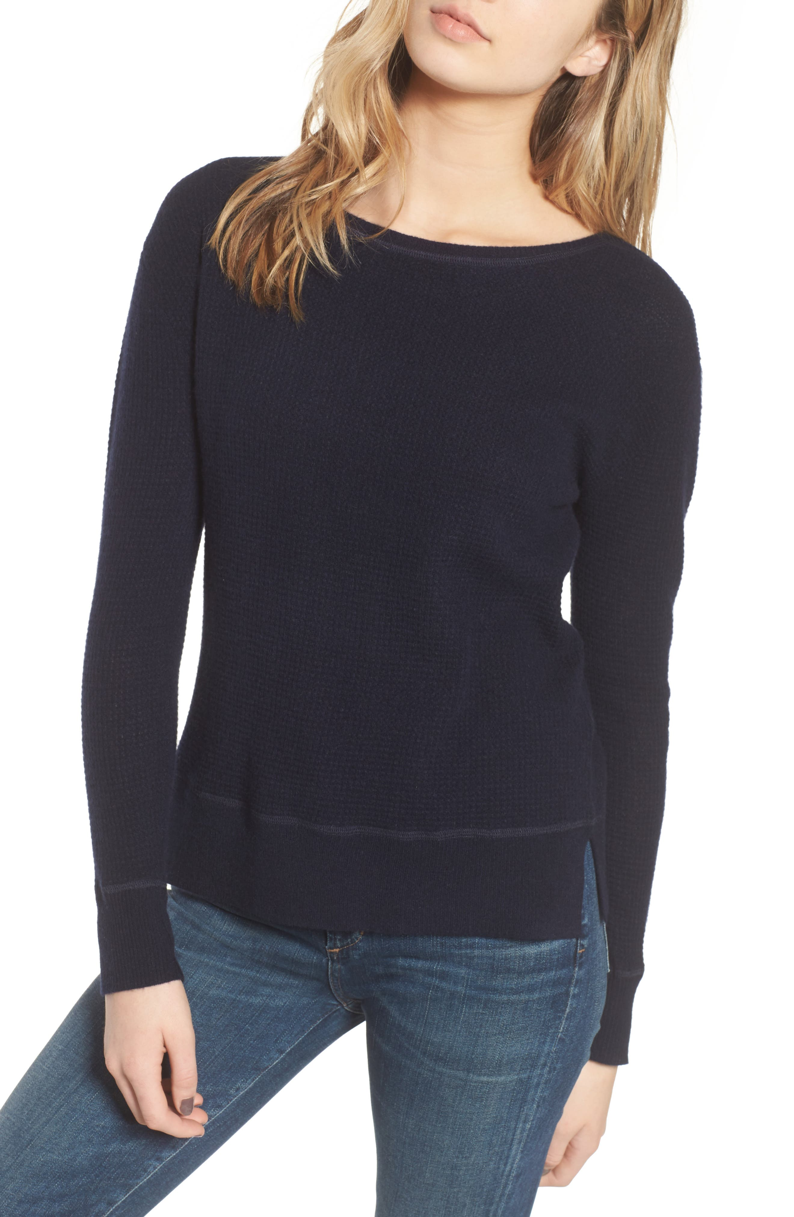 Thermal Cashmere Top,                         Main,                         color, French Navy
