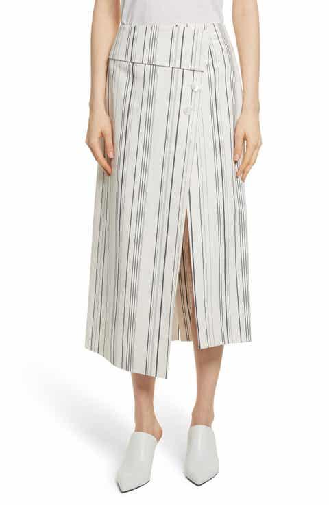Robert Rodriguez Asymmetrical Wrap Front Stripe Midi Skirt