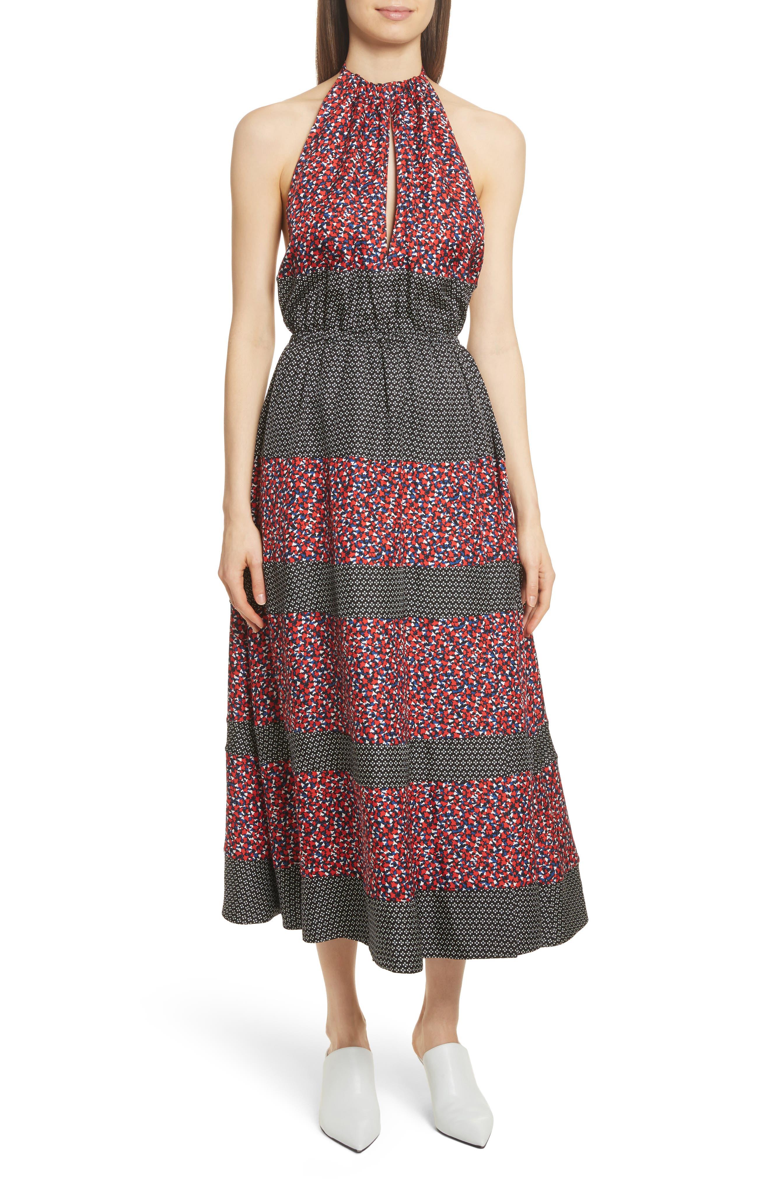 Mixed Print Halter Dress,                             Main thumbnail 1, color,                             Black Camp Floral