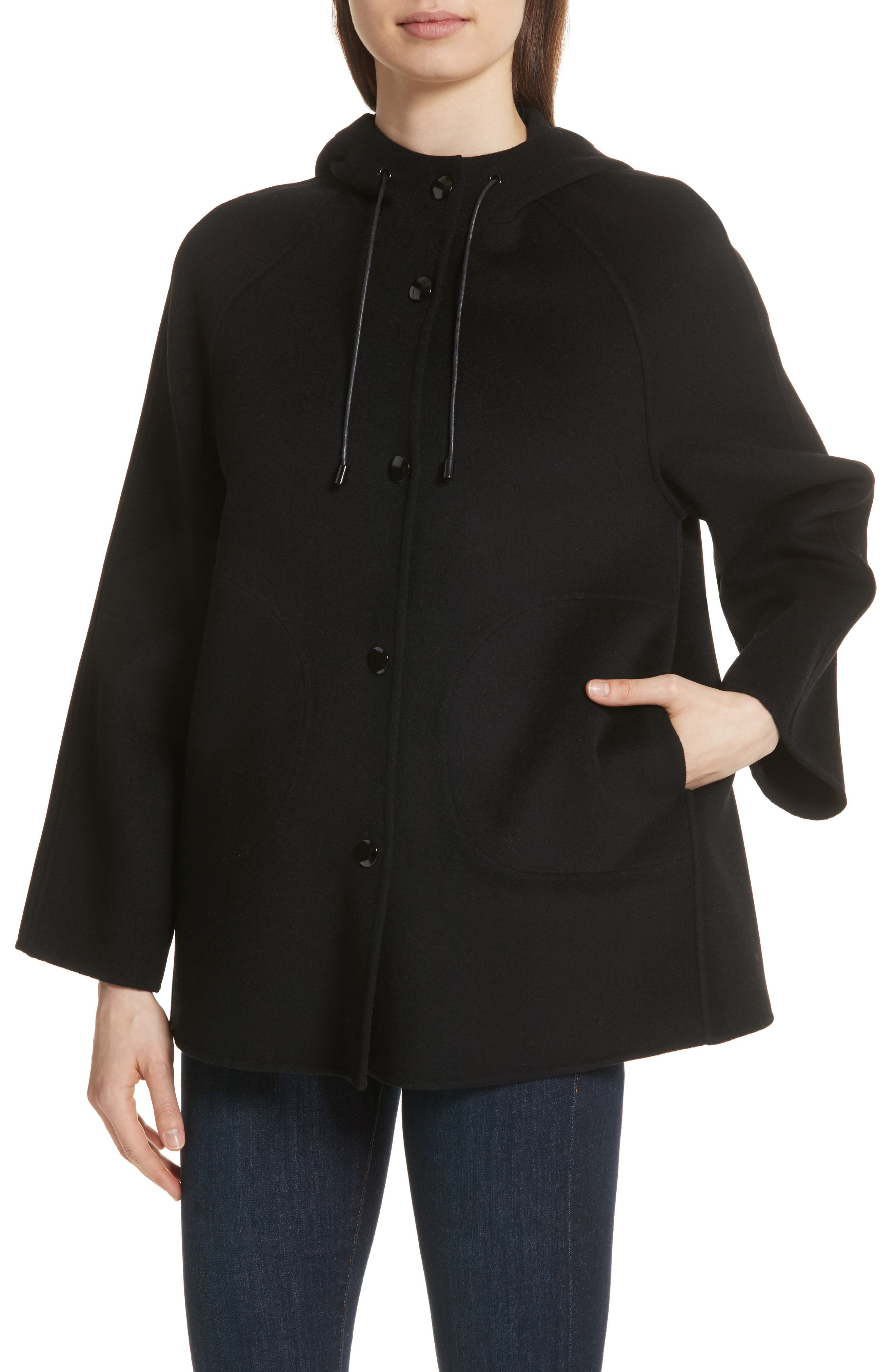 Rowan Double Wool Coat,                             Alternate thumbnail 4, color,                             Black
