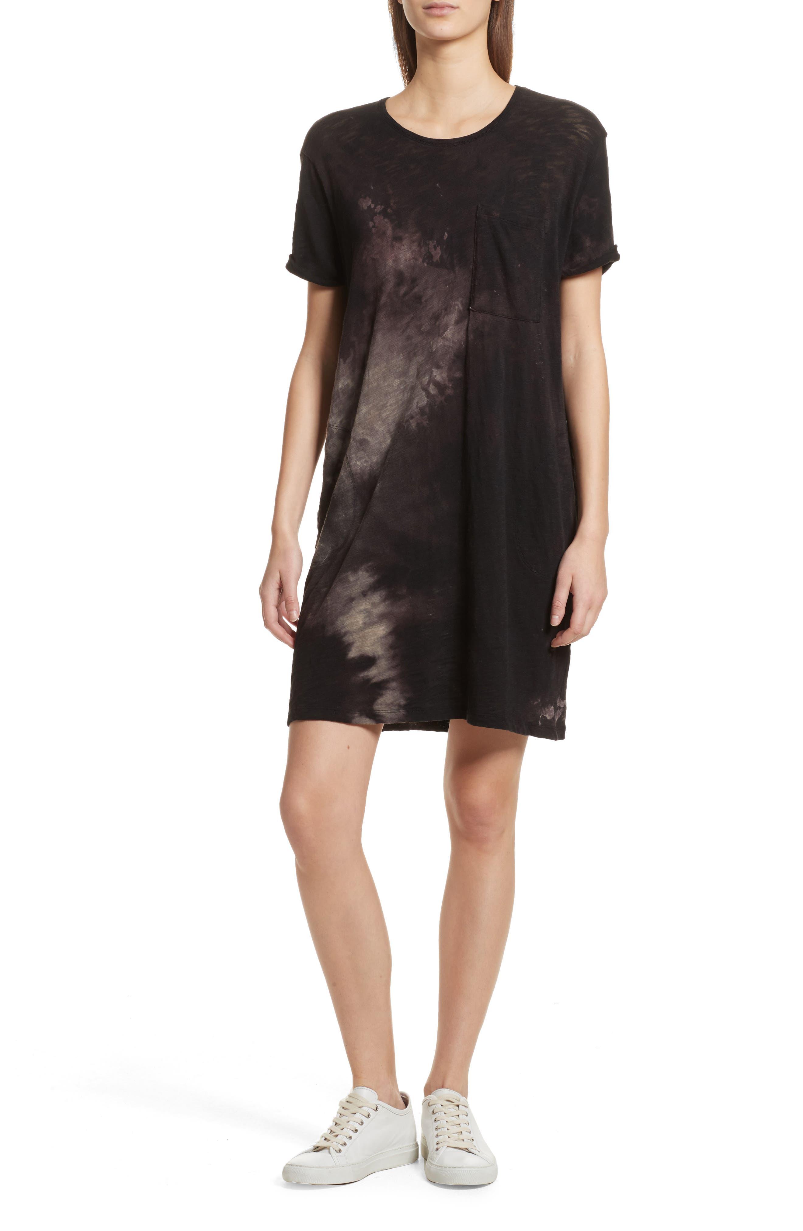 Tie Dye Jersey T-Shirt Dress,                             Main thumbnail 1, color,                             Black Tie Die