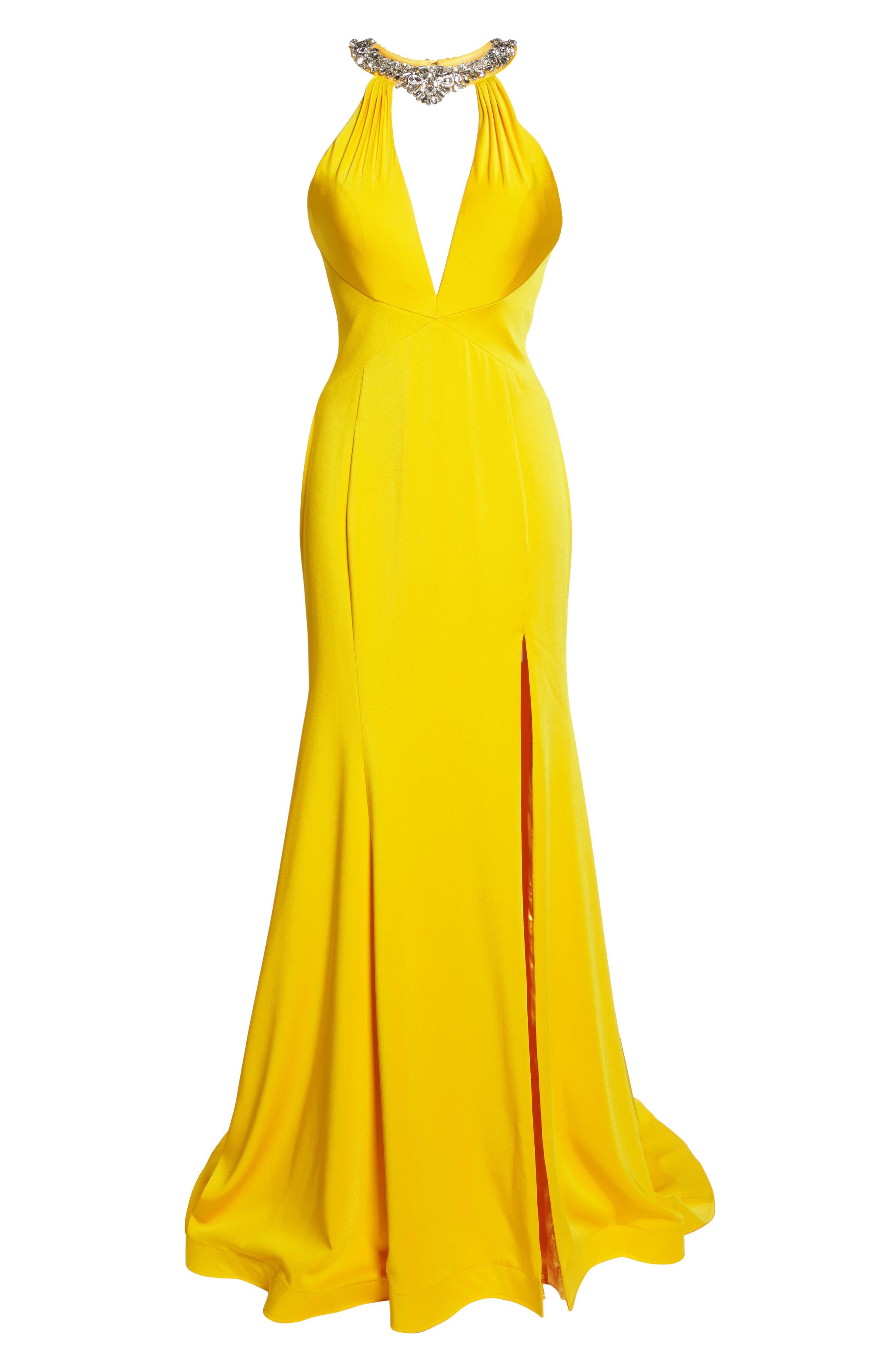 Jewel Neck Mermaid Gown,                             Alternate thumbnail 7, color,                             Sunshine