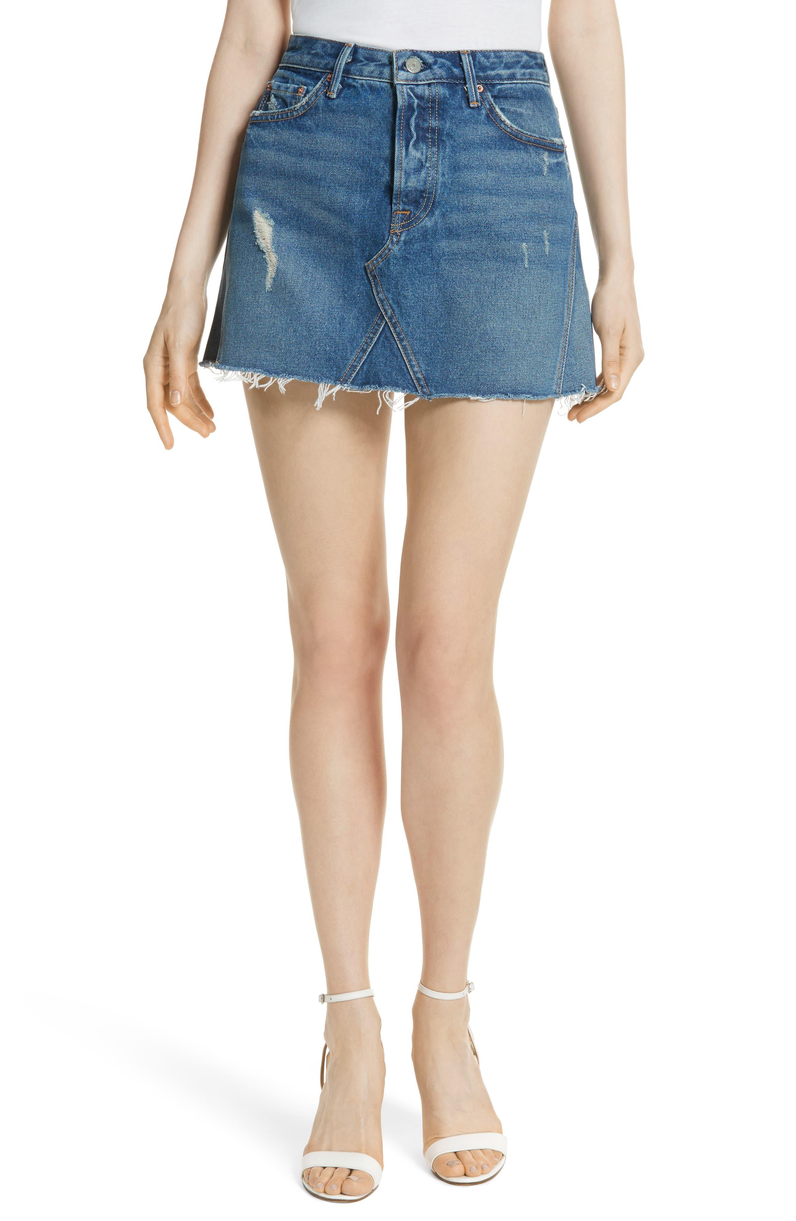 Alternate Image 1 Selected - GRLFRND Eva Denim A-Frame Gusset Skirt