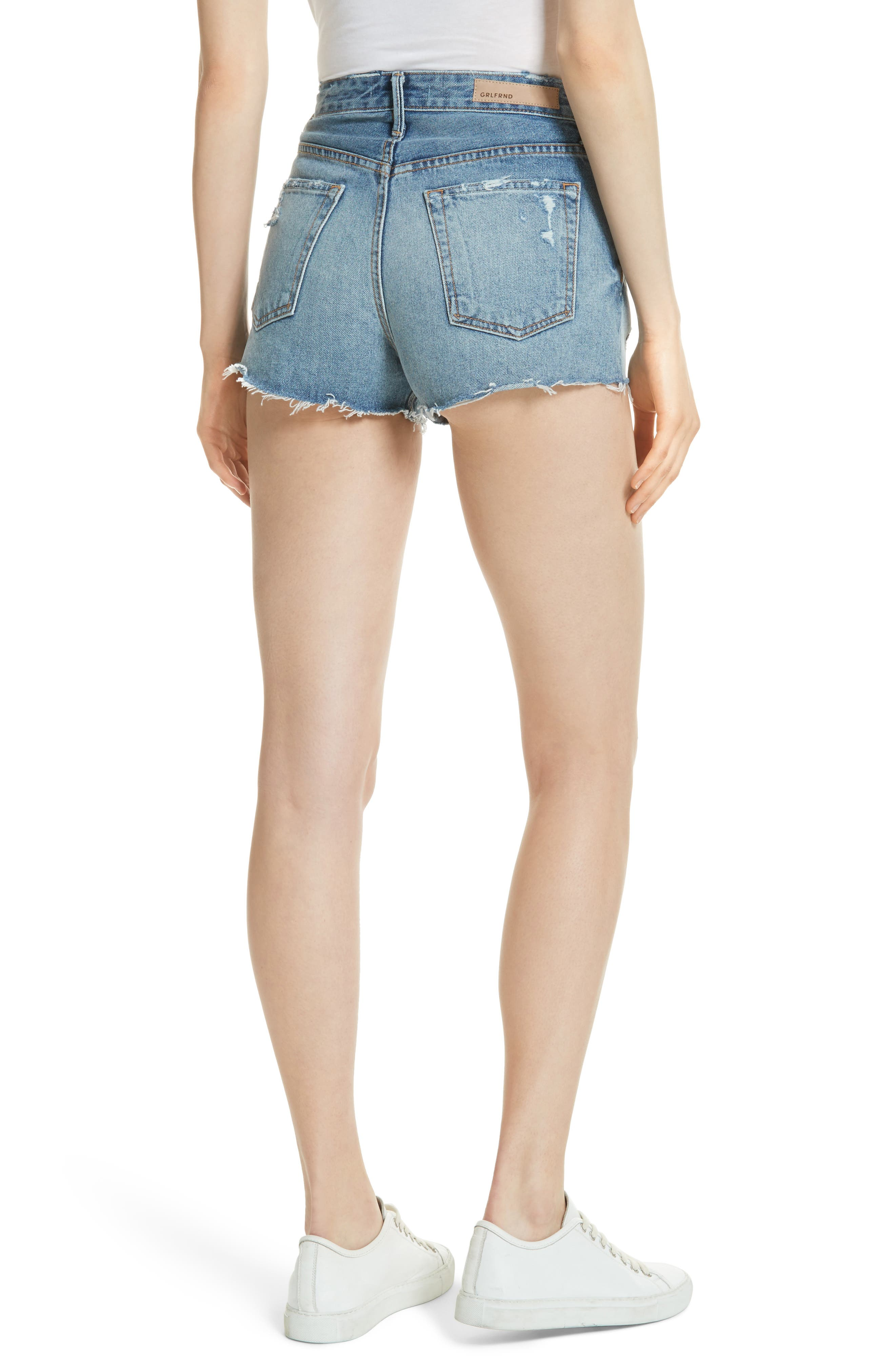 Cindy Rigid High Waist Denim Shorts,                             Alternate thumbnail 2, color,                             Stoned G601