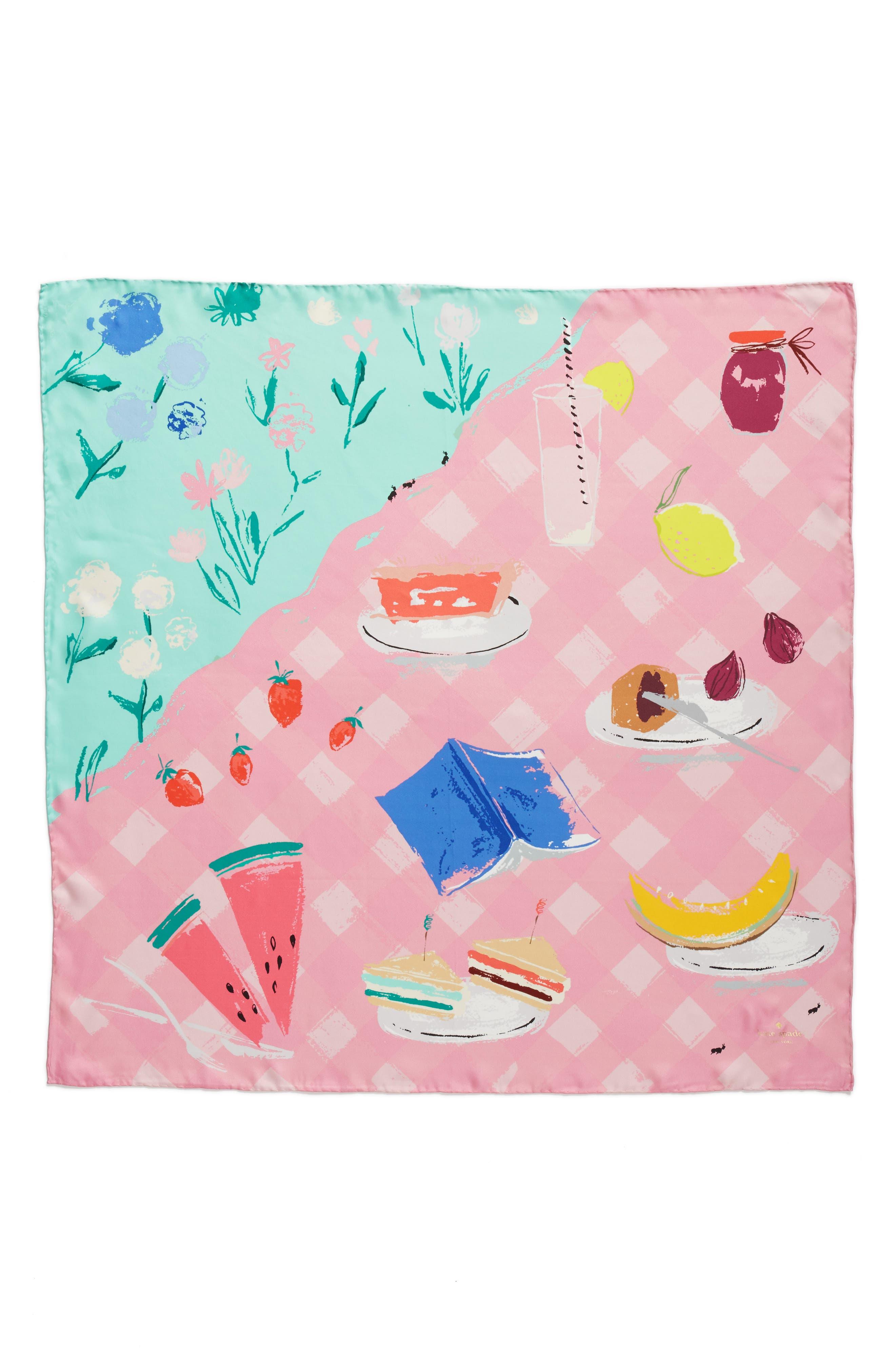 picnic square silk scarf,                             Alternate thumbnail 2, color,                             Mint Foam