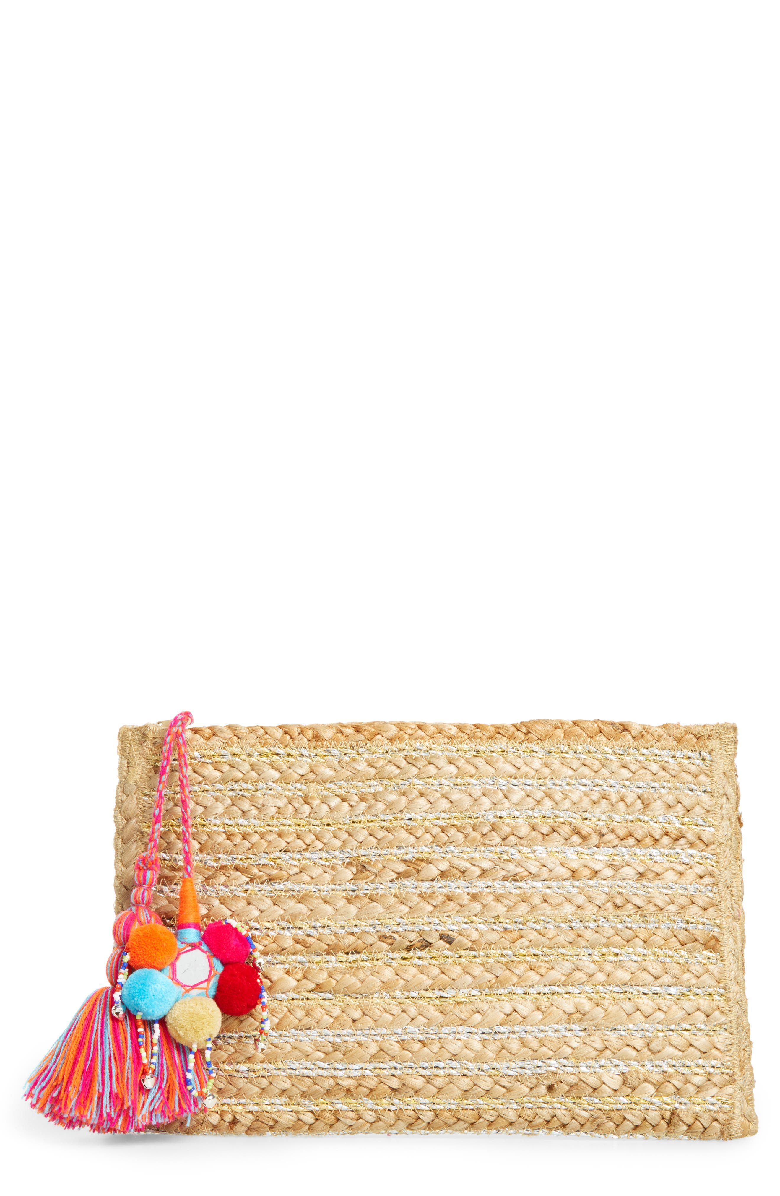 Kali Embellished Straw Clutch,                             Main thumbnail 1, color,                             Natural