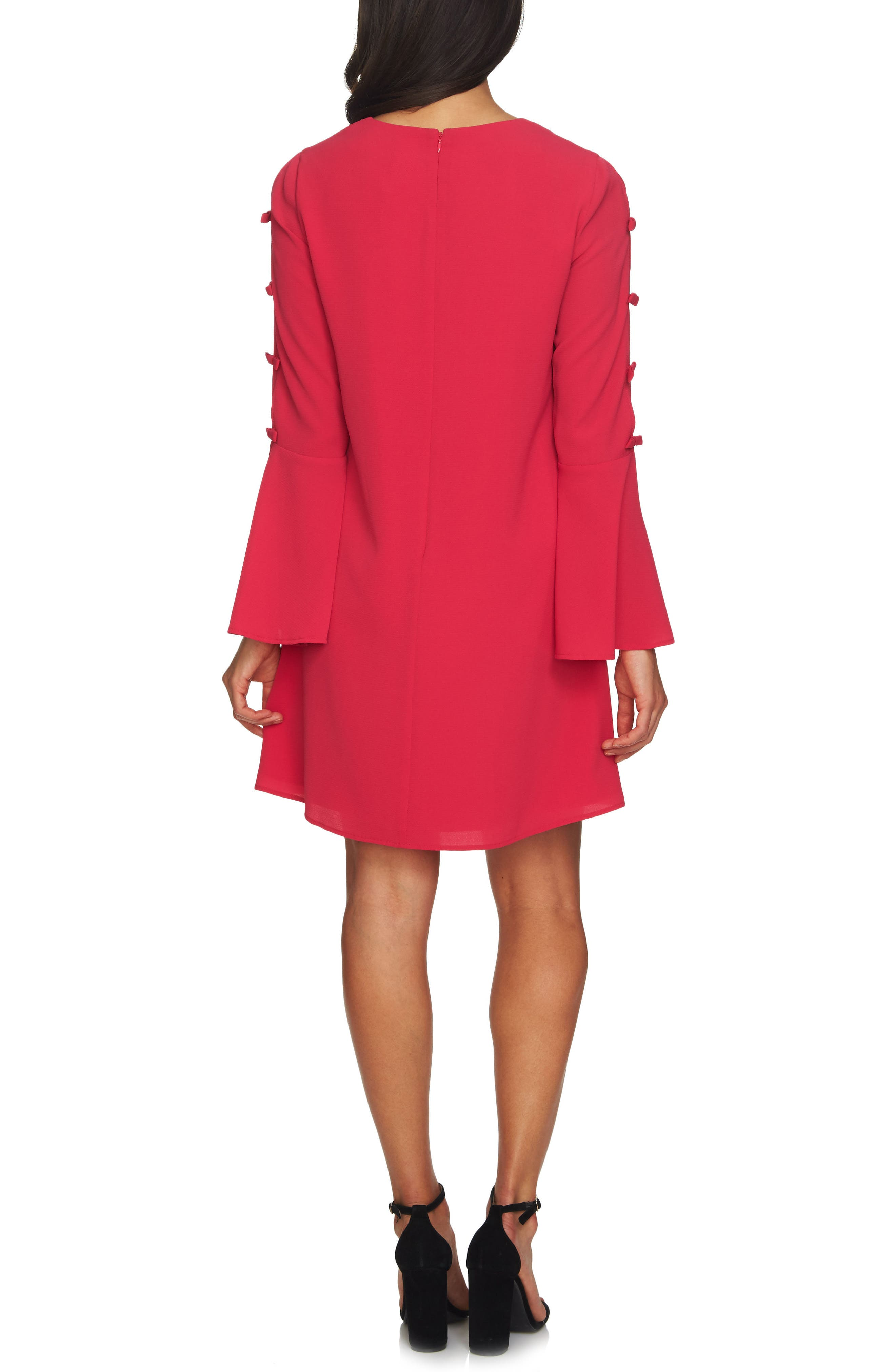 Abby Bell Sleeve Dress,                             Alternate thumbnail 2, color,                             Bright Rose