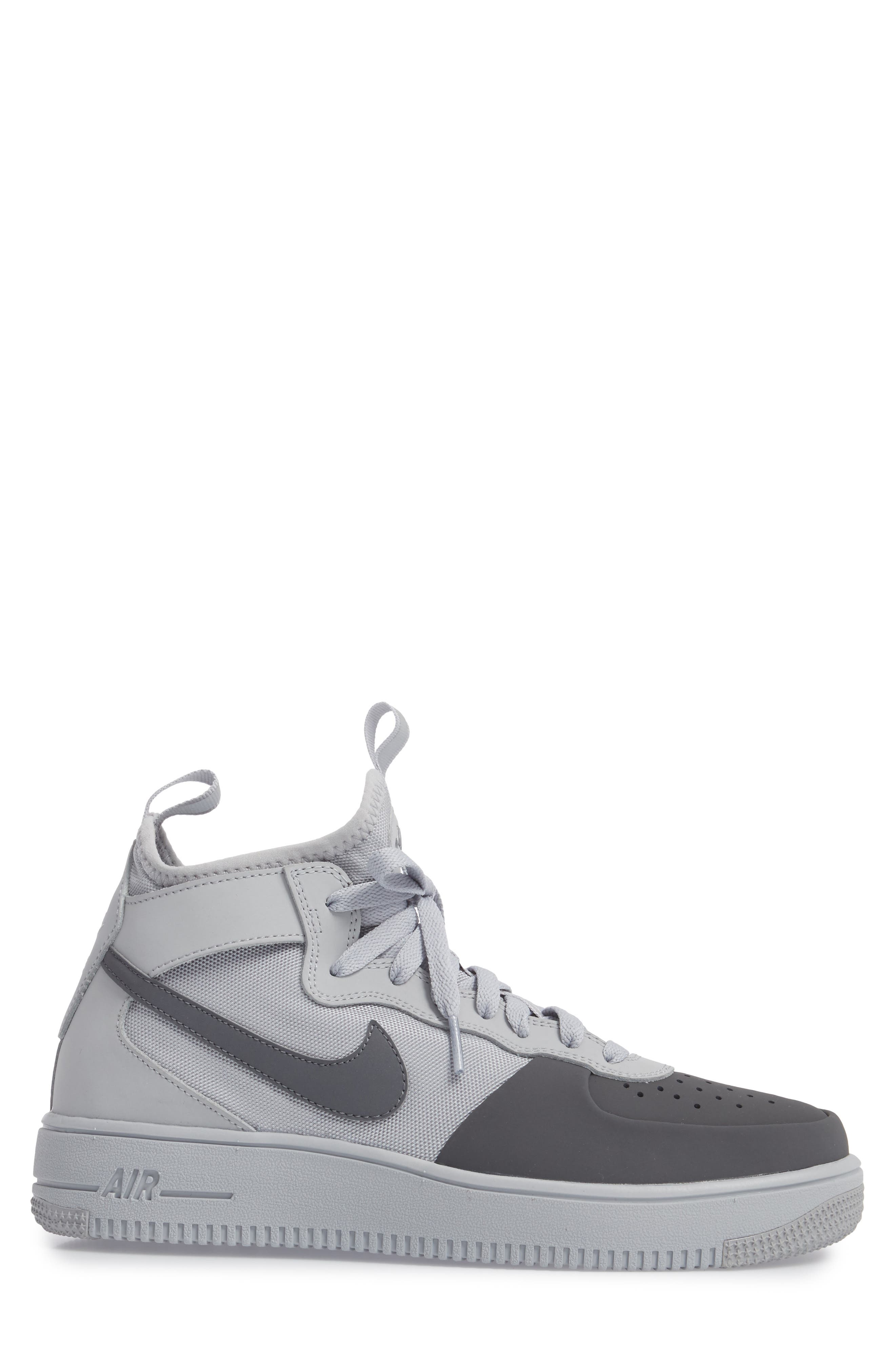 Air Force 1 Ultraforce Mid Tech Sneaker,                             Alternate thumbnail 3, color,                             Wolf Grey/ Dark Grey
