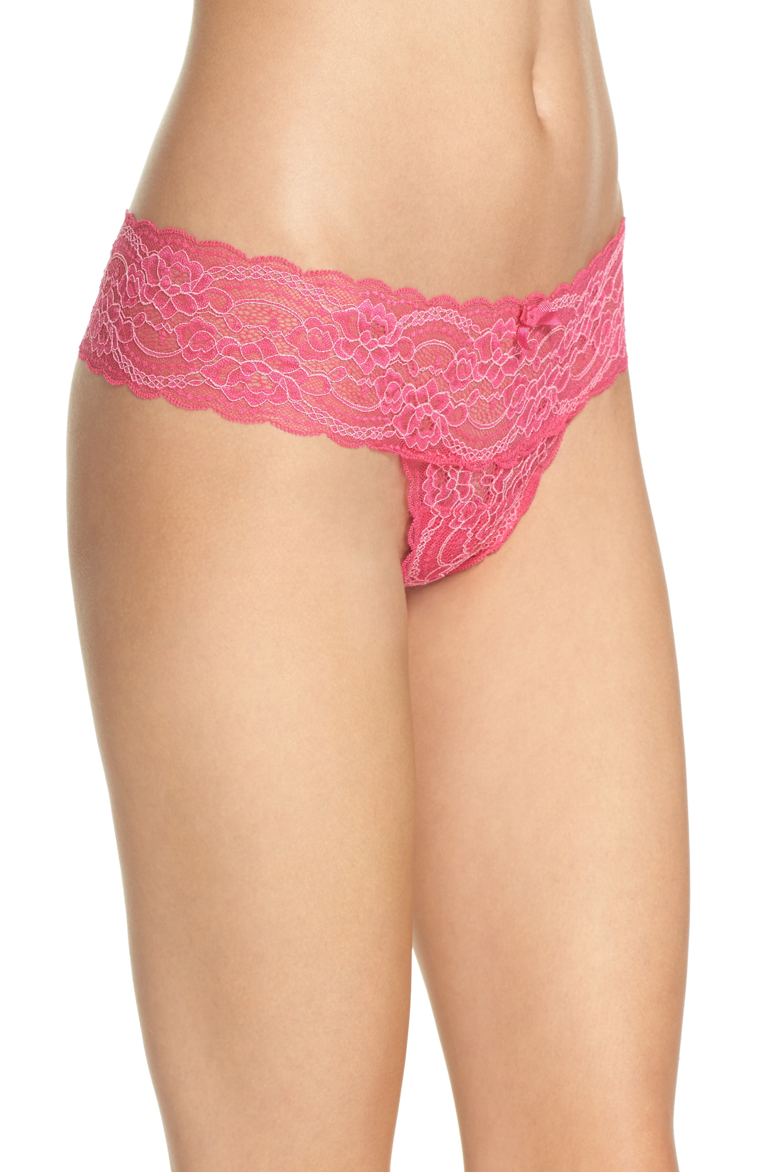 'Obsessed' Lace Thong,                             Alternate thumbnail 3, color,                             Confetti / Soft Pink